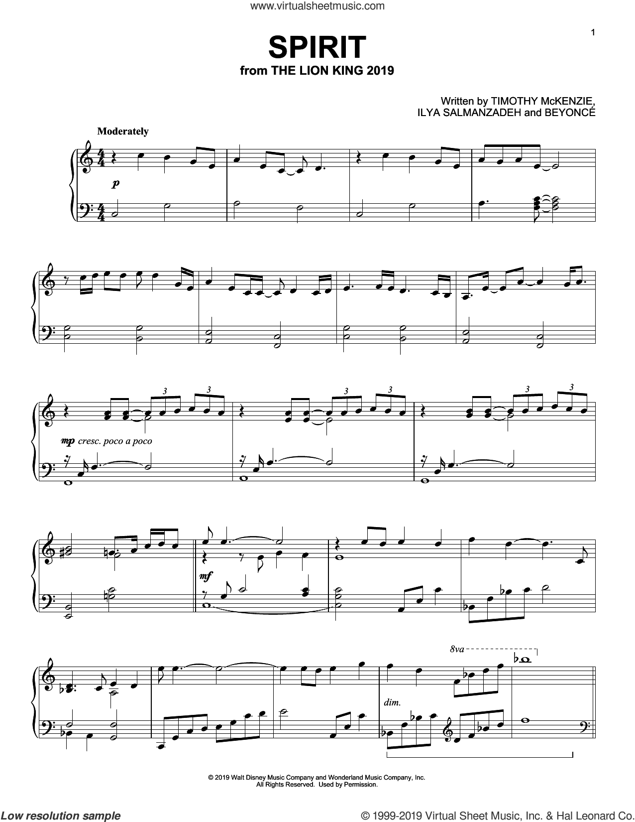 Spirit (from The Lion King 2019) sheet music for piano solo by Beyonce, Ilya Salmanzadeh and Timothy McKenzie, intermediate skill level