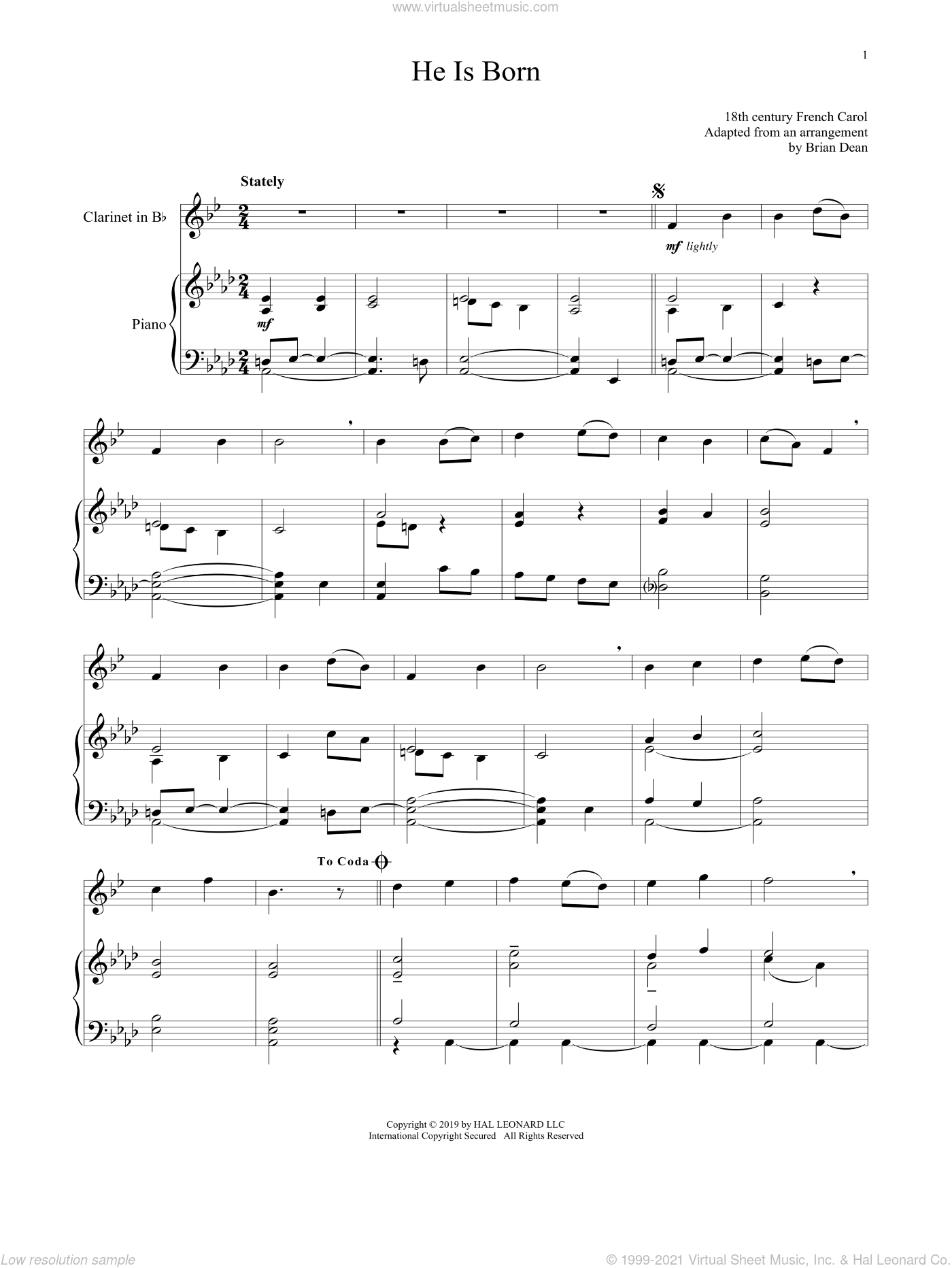 He Is Born sheet music for clarinet and piano, intermediate skill level