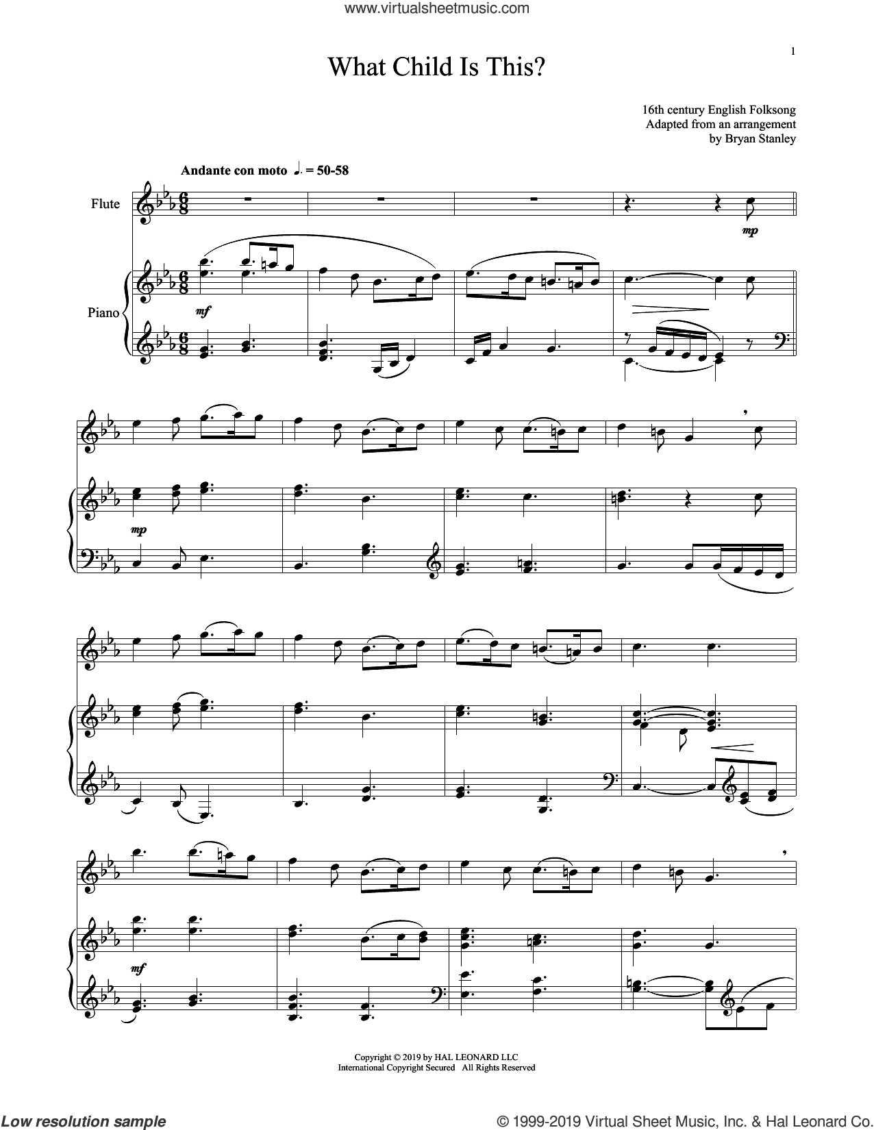What Child Is This? sheet music for flute and piano by William Chatterton Dix and Miscellaneous, intermediate skill level