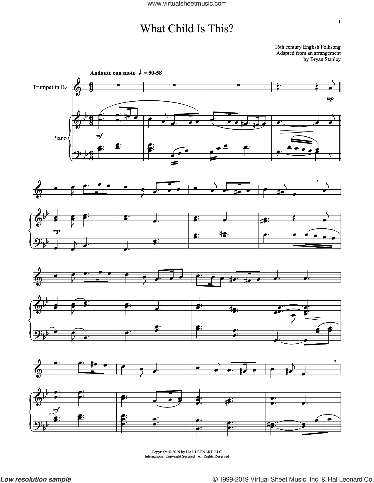 What Child Is This? sheet music for trumpet and piano by William Chatterton Dix and Miscellaneous, intermediate skill level