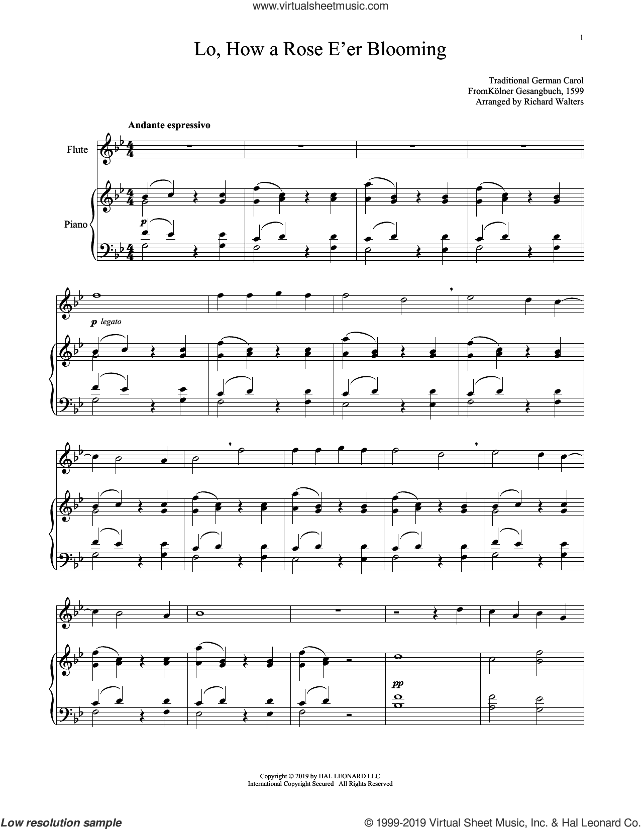 Lo, How A Rose E'er Blooming sheet music for flute and piano by Alte Catholische Geistliche Ki, 15th Century German Carol and Theodore Baker, intermediate skill level