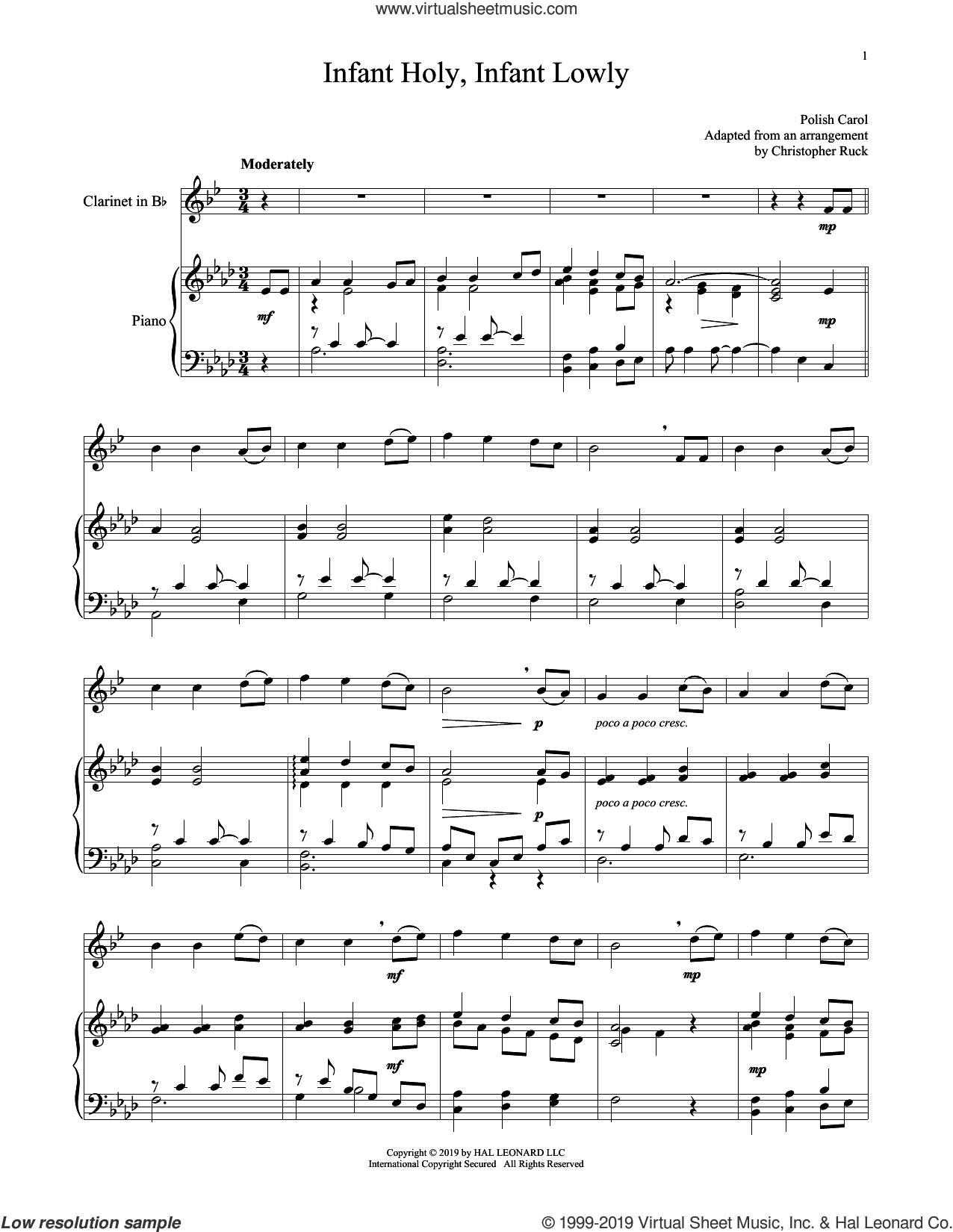 Infant Holy, Infant Lowly sheet music for clarinet and piano by Edith M.G. Reed and Miscellaneous, intermediate skill level