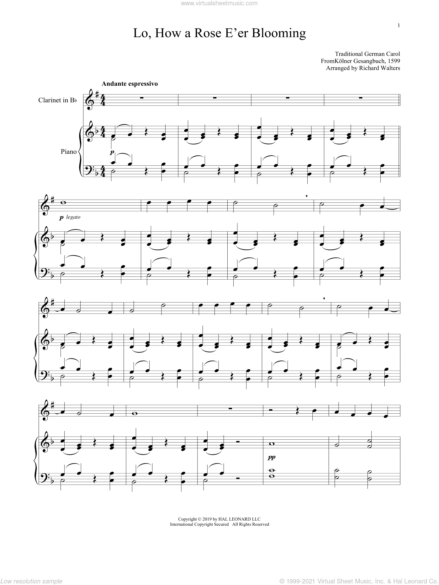 Lo, How A Rose E'er Blooming sheet music for clarinet and piano by Alte Catholische Geistliche Ki, 15th Century German Carol and Theodore Baker, intermediate skill level