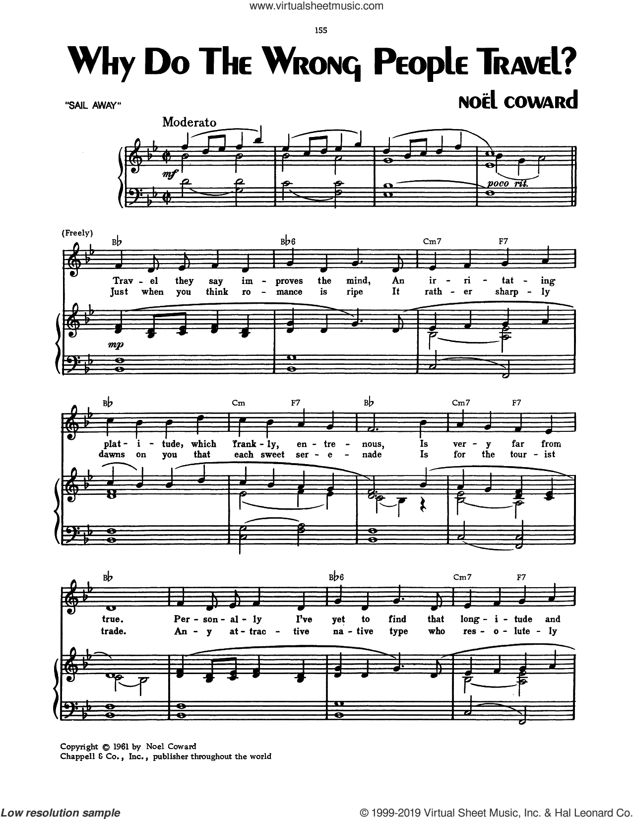 Why Do The Wrong People Travel? sheet music for voice, piano or guitar by Noel Coward, intermediate skill level