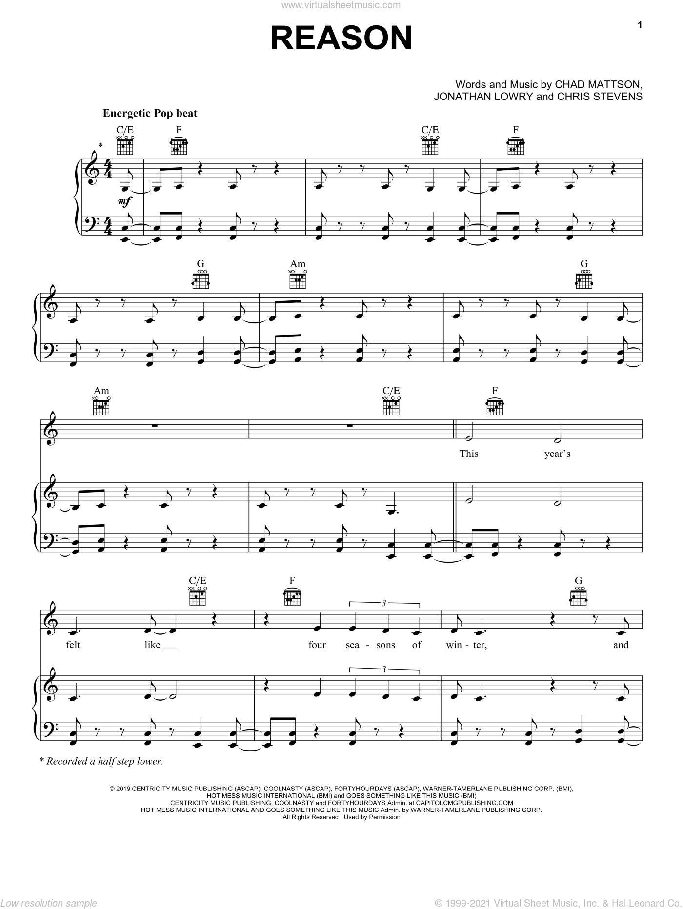 Reason sheet music for voice, piano or guitar by Unspoken, Chad Mattson, Chris Stevens and Jonathan Lowry, intermediate skill level