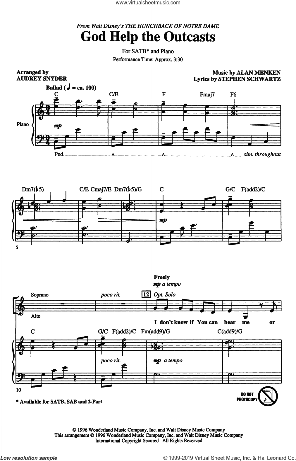God Help The Outcasts (from The Hunchback Of Notre Dame) (arr. Audrey Snyder) sheet music for choir (SATB: soprano, alto, tenor, bass) by Bette Midler, Audrey Snyder, Alan Menken and Stephen Schwartz, intermediate skill level