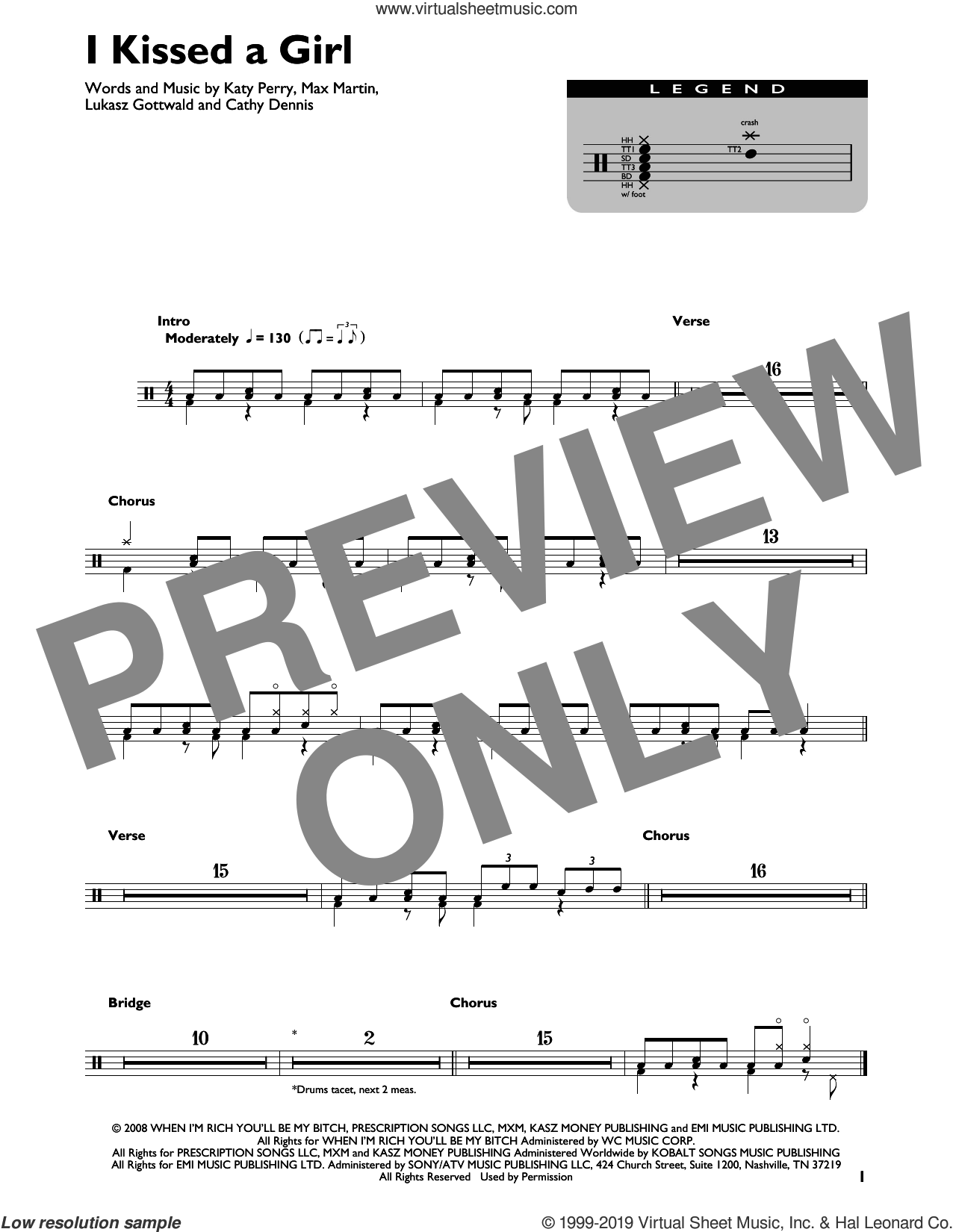 I Kissed A Girl sheet music for drums by Katy Perry, Cathy Dennis, Lukasz Gottwald and Max Martin, intermediate skill level