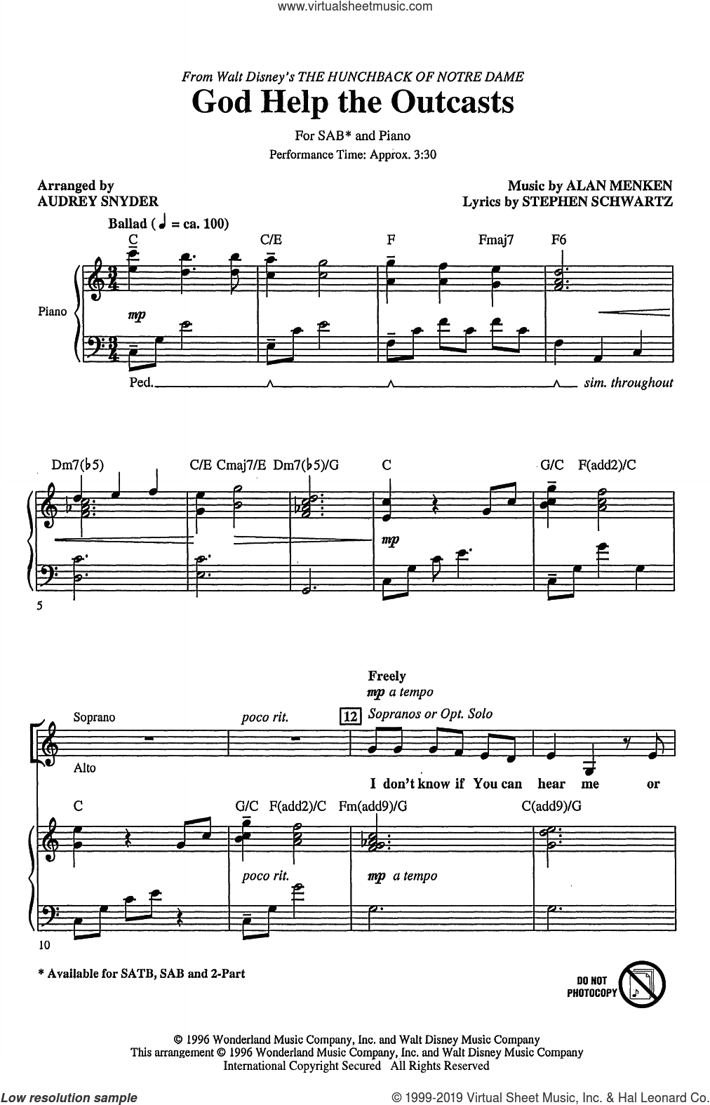 God Help The Outcasts (from The Hunchback Of Notre Dame) (arr. Audrey Snyder) sheet music for choir (SAB: soprano, alto, bass) by Bette Midler, Audrey Snyder, Alan Menken and Stephen Schwartz, intermediate skill level