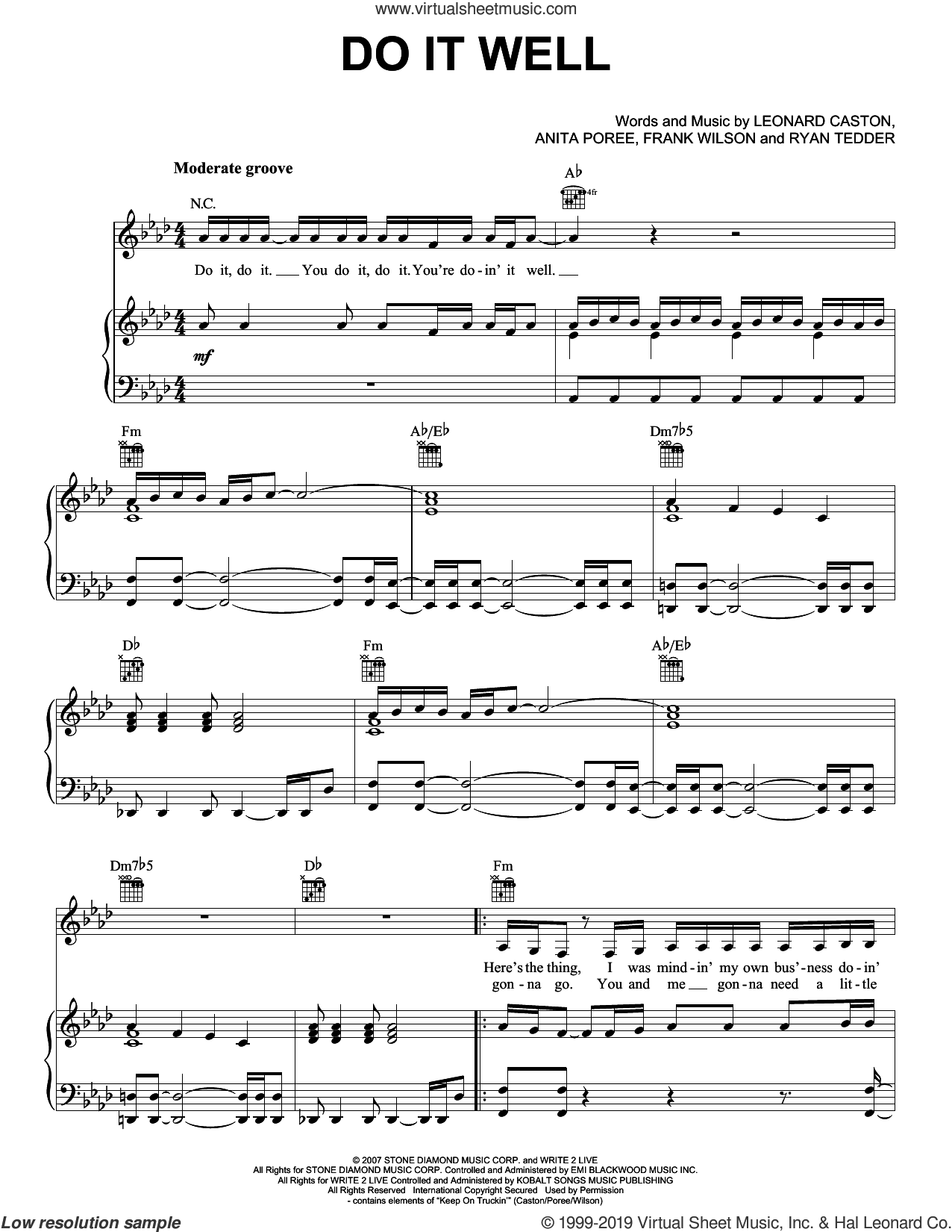 Do It Well sheet music for voice, piano or guitar by Jennifer Lopez, Anita Poree, Frank Wilson, Leonard Caston and Ryan Tedder, intermediate skill level