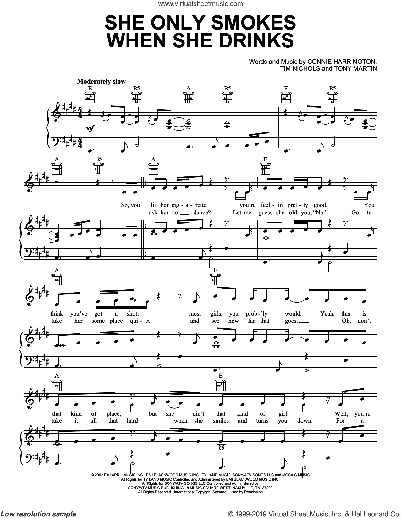 She Only Smokes When She Drinks sheet music for voice, piano or guitar by Joe Nichols, Connie Harrington, Tim Nichols and Tony Martin, intermediate skill level