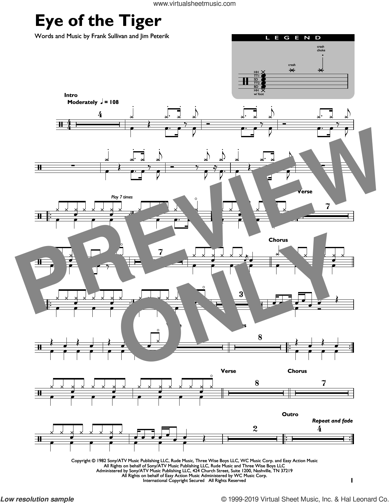 Eye Of The Tiger sheet music for drums by Survivor, Frank Sullivan and Jim Peterik, intermediate skill level