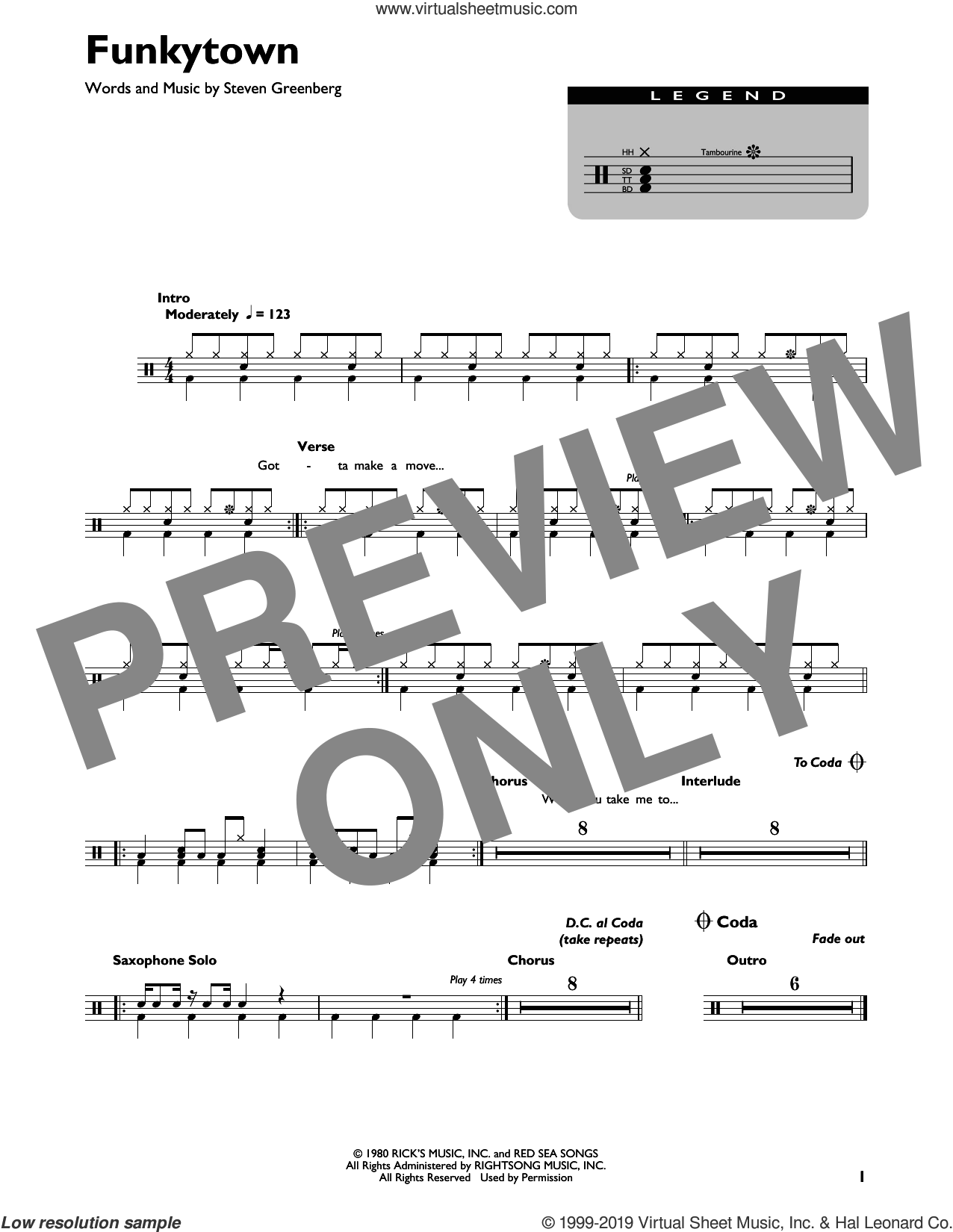 Funkytown sheet music for drums by Lipps Inc. and Steven Greenberg, intermediate skill level