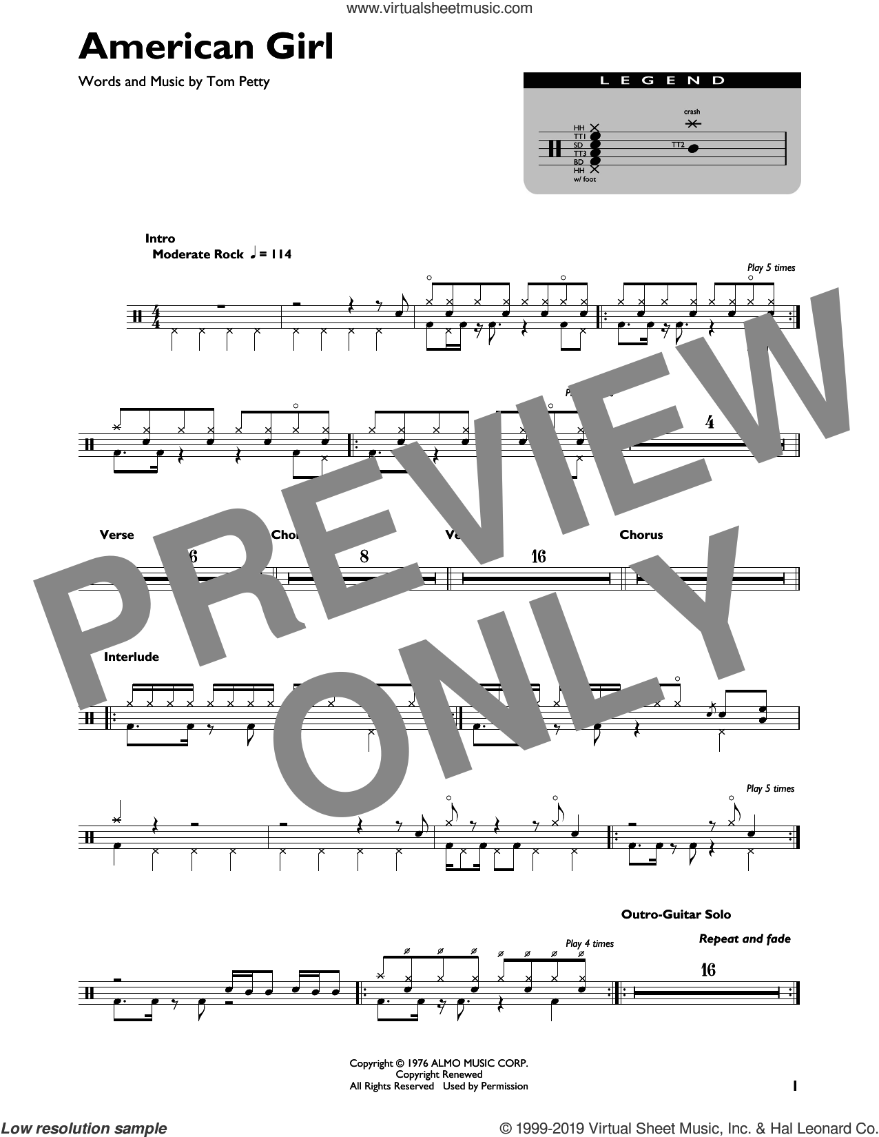 American Girl sheet music for drums by Tom Petty and the Heartbreakers and Tom Petty, intermediate skill level