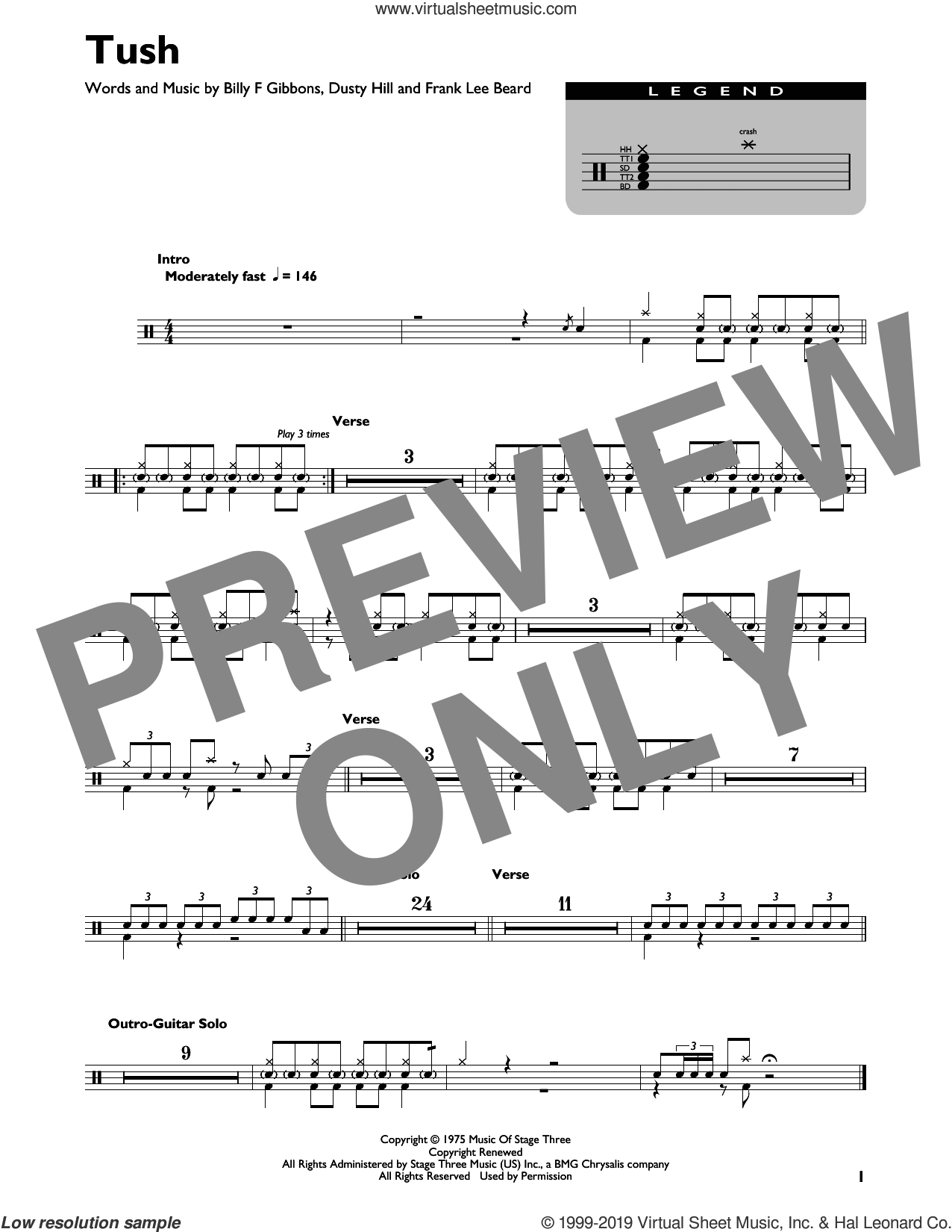 Tush sheet music for drums (percussions) by ZZ Top, Billy Gibbons, Dusty Hill and Frank Beard, intermediate skill level