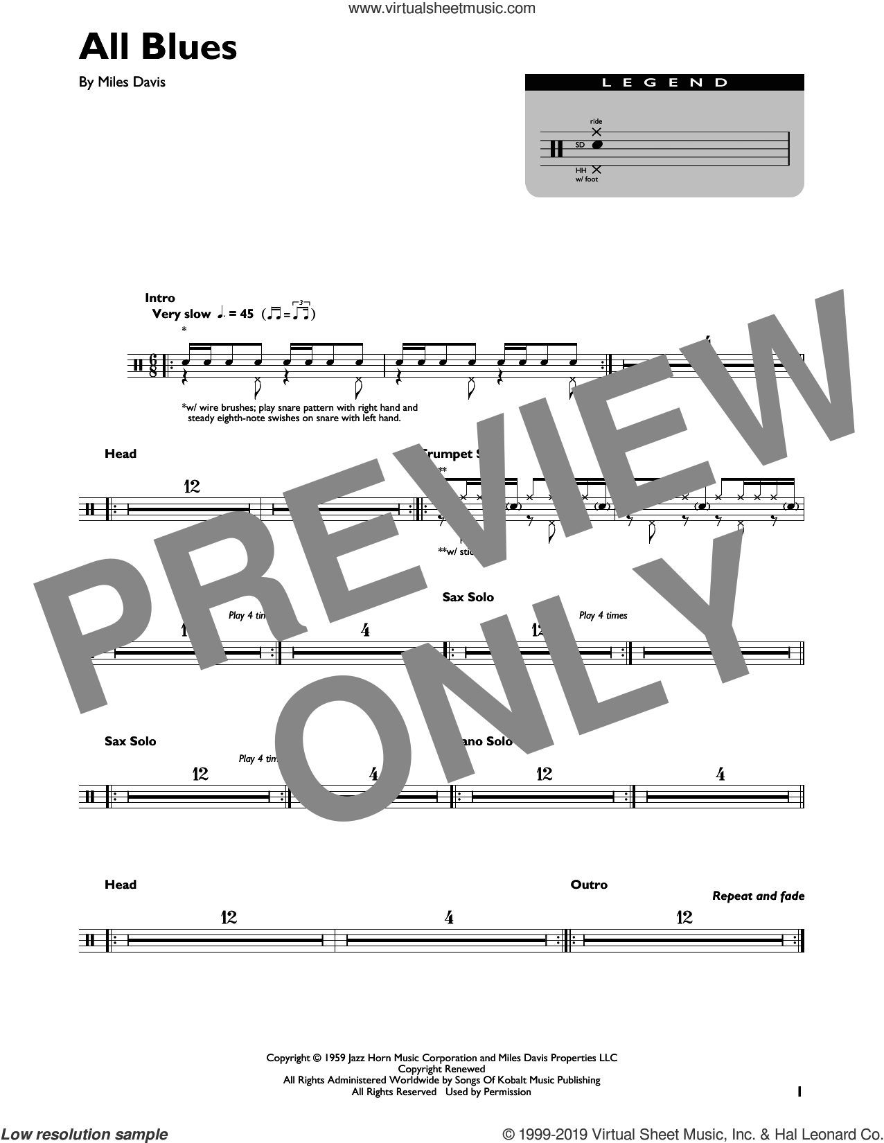 All Blues sheet music for drums (percussions) by Miles Davis, intermediate skill level