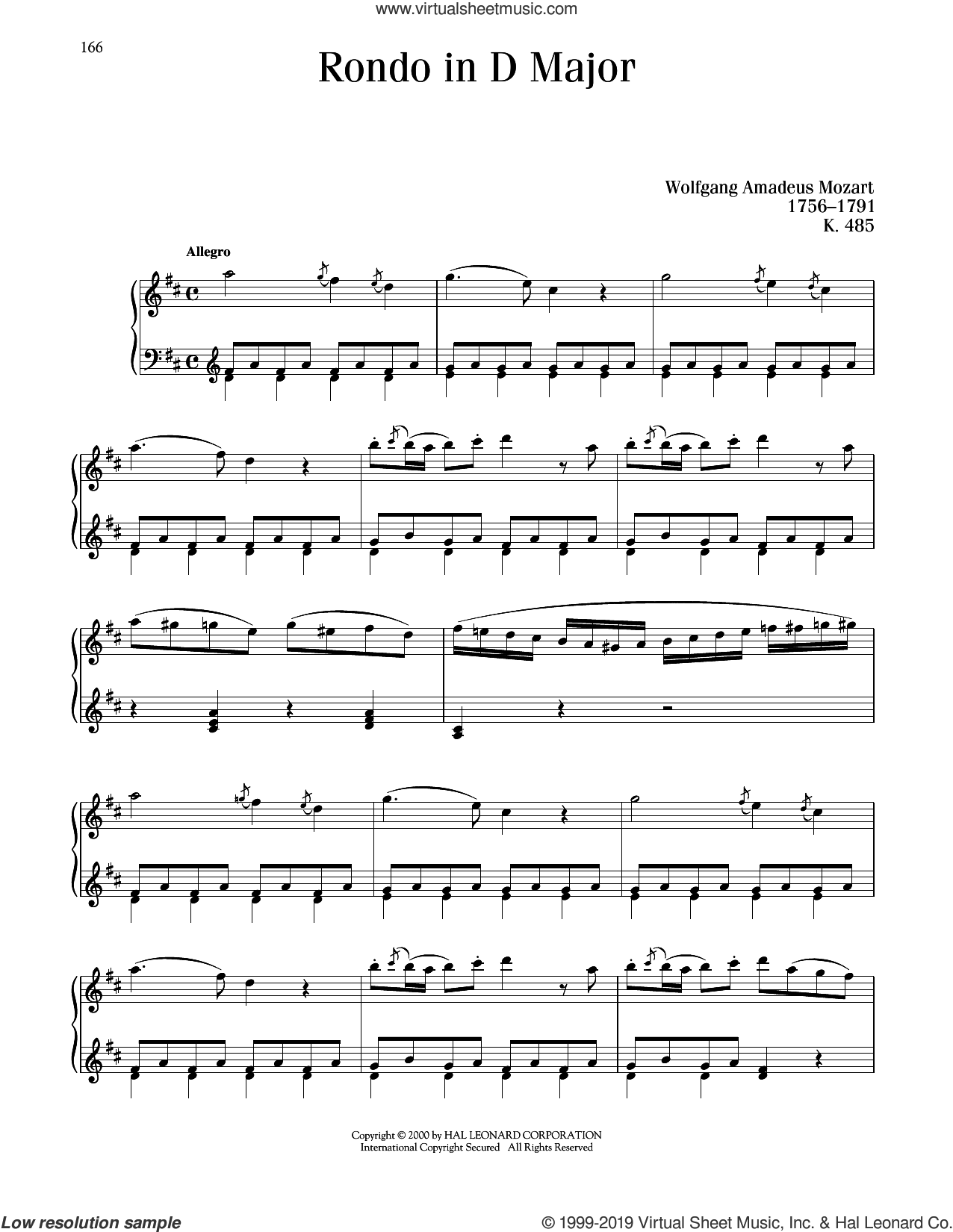 Rondo In D Major, K. 485 sheet music for piano solo by Wolfgang Amadeus Mozart, classical score, intermediate skill level