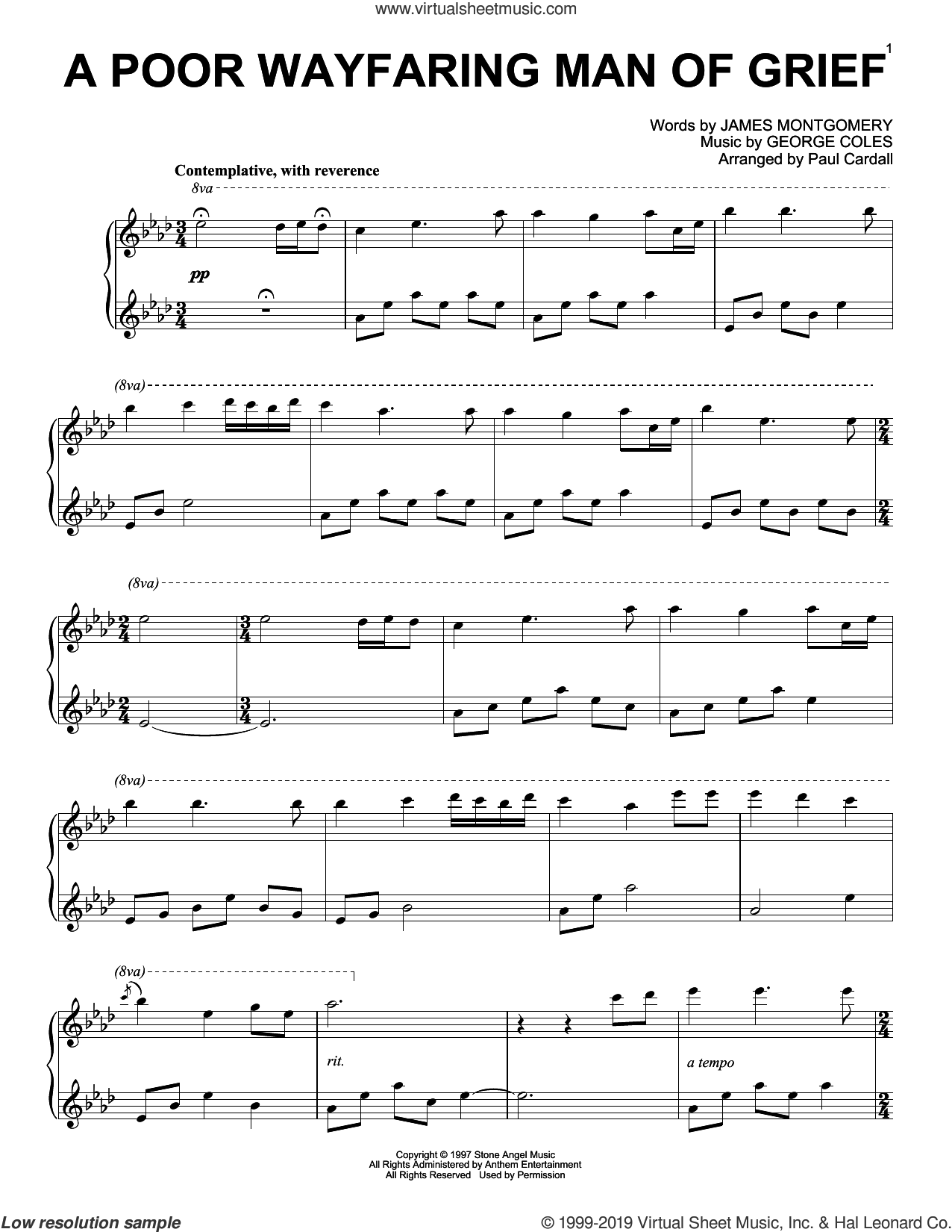 A Poor Wayfaring Man Of Grief (arr. Paul Cardall) sheet music for piano solo by James Montgomery, Paul Cardall and George Coles, intermediate skill level
