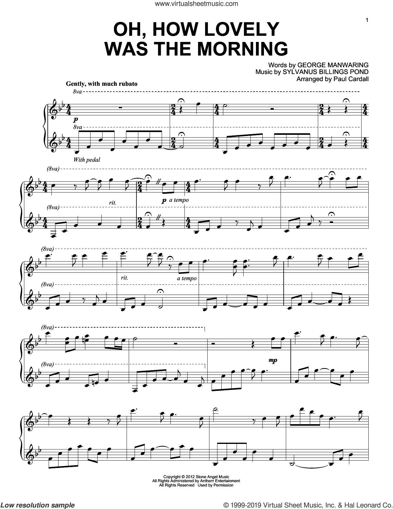 Oh, How Lovely Was The Morning (arr. Paul Cardall) sheet music for piano solo by Sylvanus Billings Pond, Paul Cardall and George Manwaring, intermediate skill level