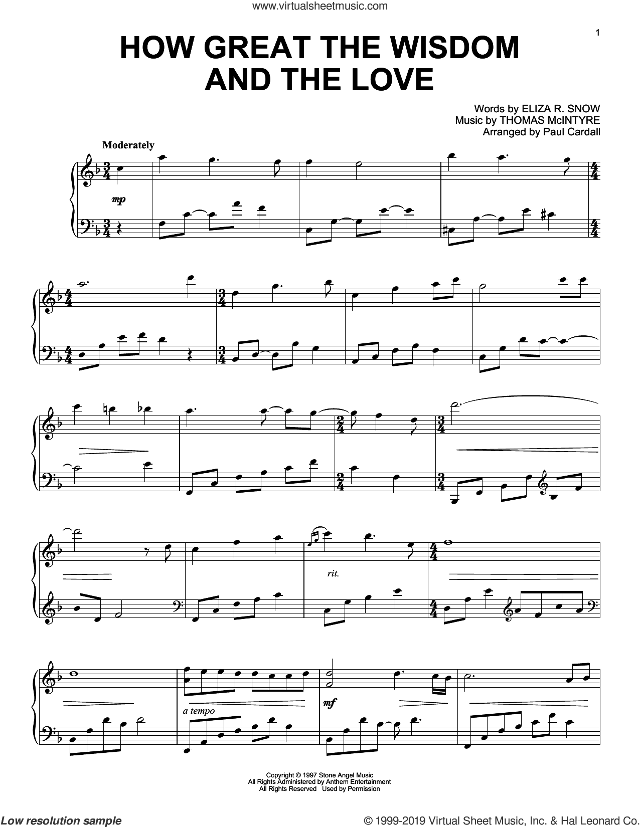 How Great The Wisdom And The Love (arr. Paul Cardall) sheet music for piano solo by Thomas McIntyre, Paul Cardall and Eliza R. Snow, intermediate skill level