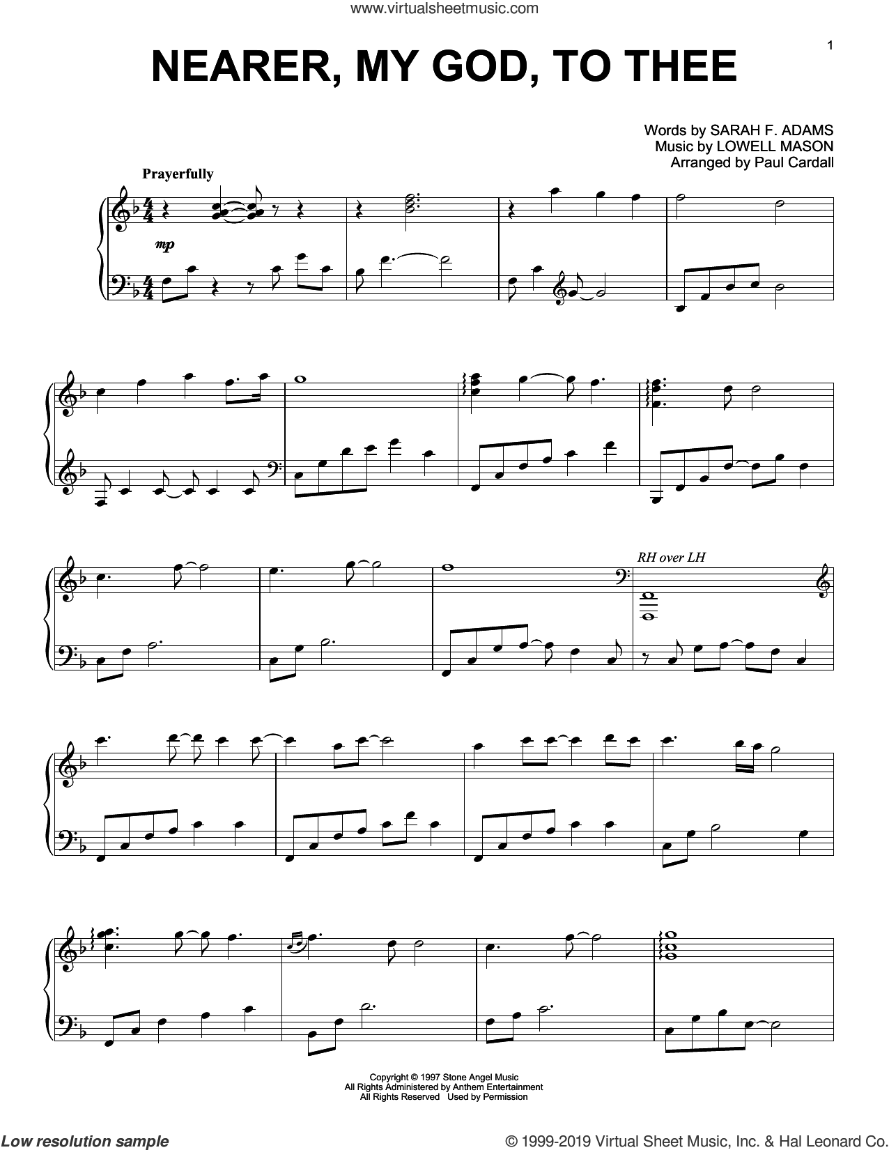 Nearer, My God, To Thee (arr. Paul Cardall) sheet music for piano solo by Lowell Mason, Paul Cardall and Sarah F. Adams, intermediate skill level