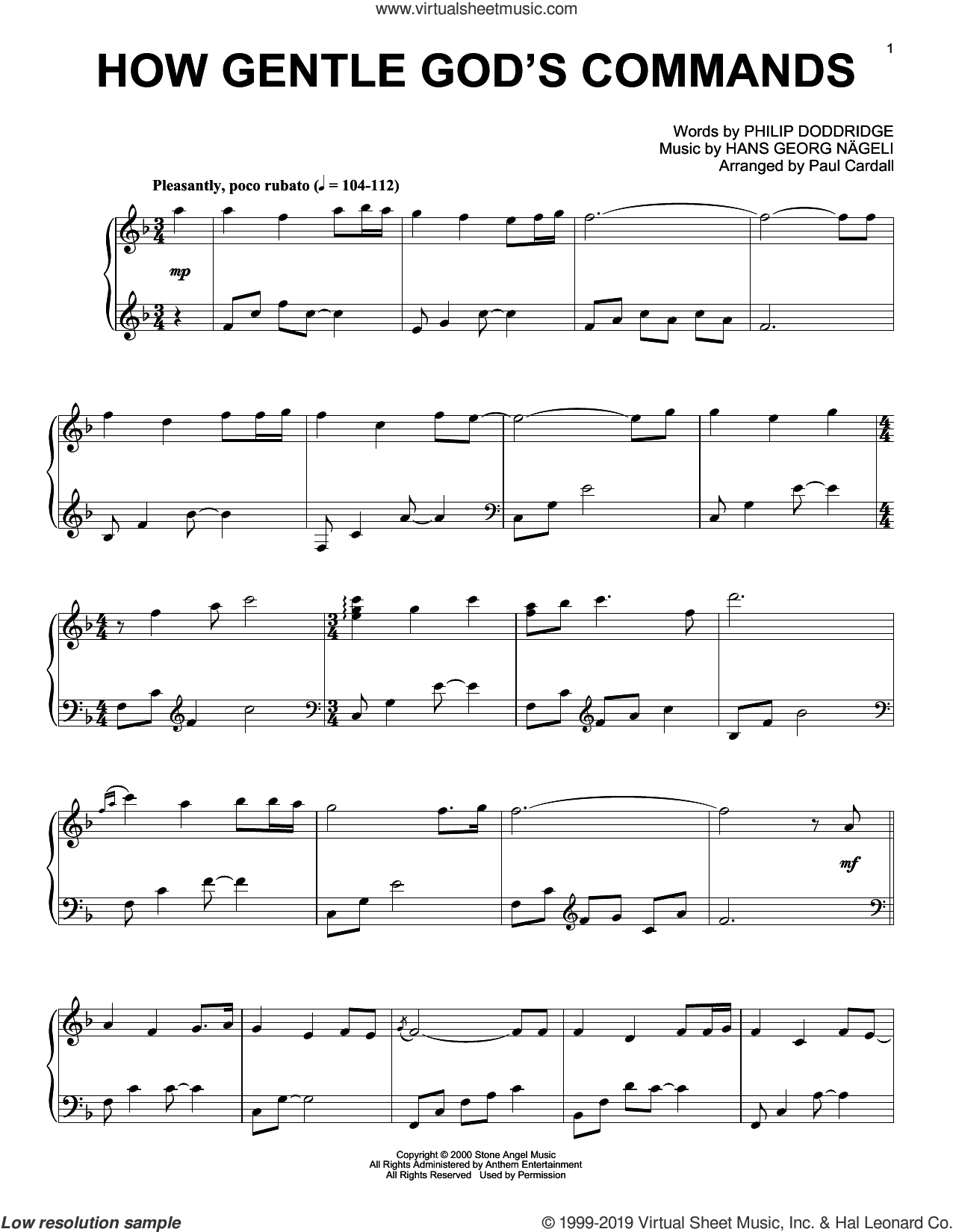 How Gentle God's Commands (arr. Paul Cardall) sheet music for piano solo by Hans Georg Nageli, Paul Cardall and Philip Doddridge, intermediate skill level