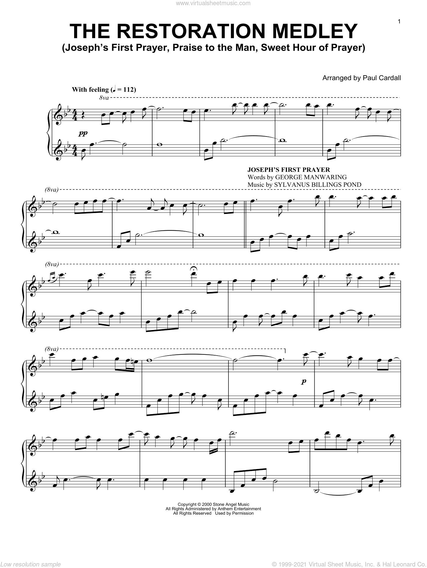 The Restoration Medley (Joseph's First Prayer, Praise To The Man, Sweet Hour Of Prayer) sheet music for piano solo by William B. Bradbury, Paul Cardall, Scottish Folk Song and Sylvanus Billings Pond, intermediate skill level