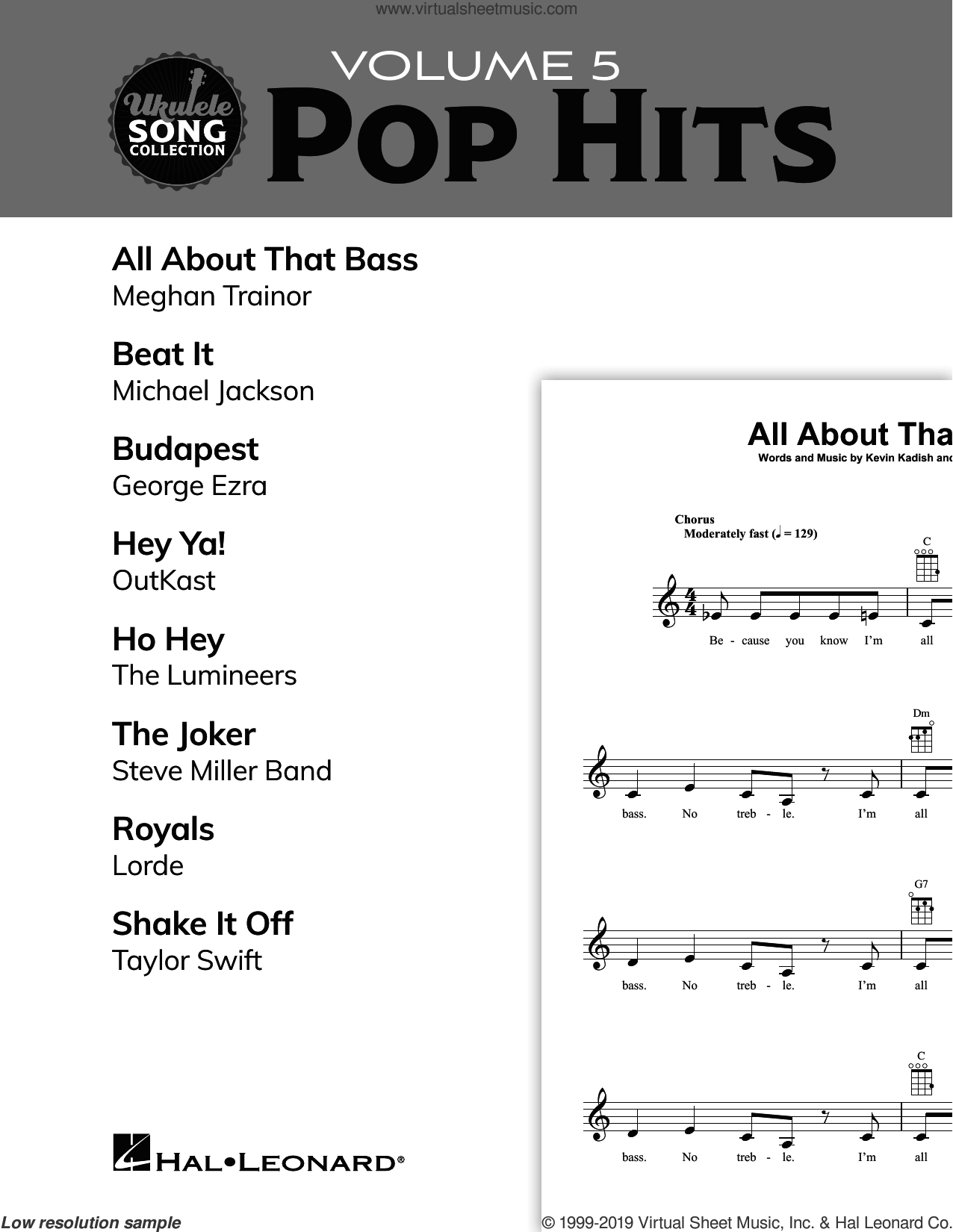 Ukulele Song Collection, Volume 5: Pop Hits sheet music for ukulele solo (collection), easy ukulele (collection)