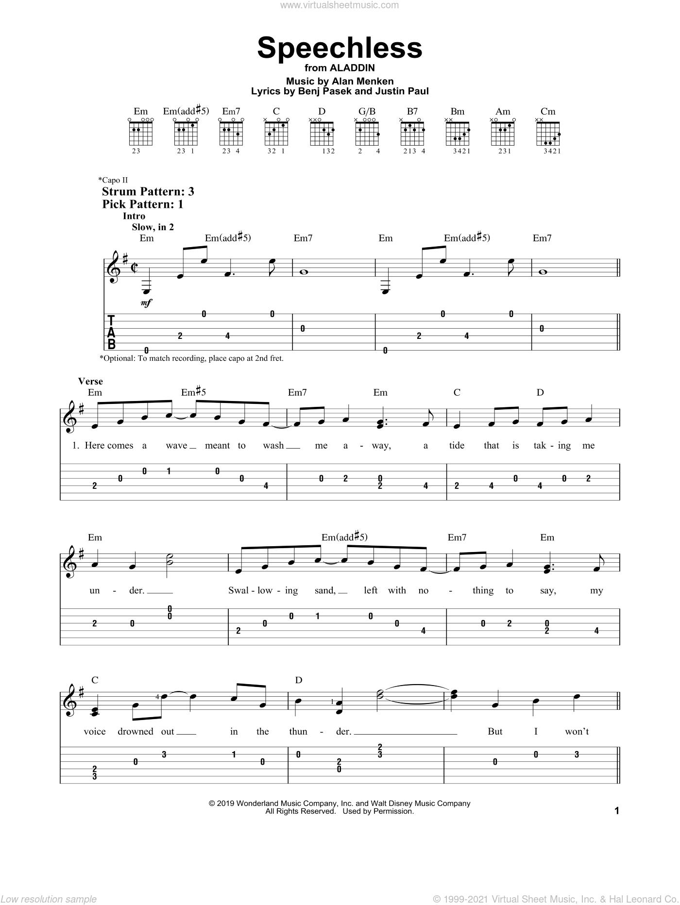 Speechless (from Disney's Aladdin) sheet music for guitar solo (easy tablature) by Naomi Scott, Alan Menken, Benj Pasek and Justin Paul, easy guitar (easy tablature)