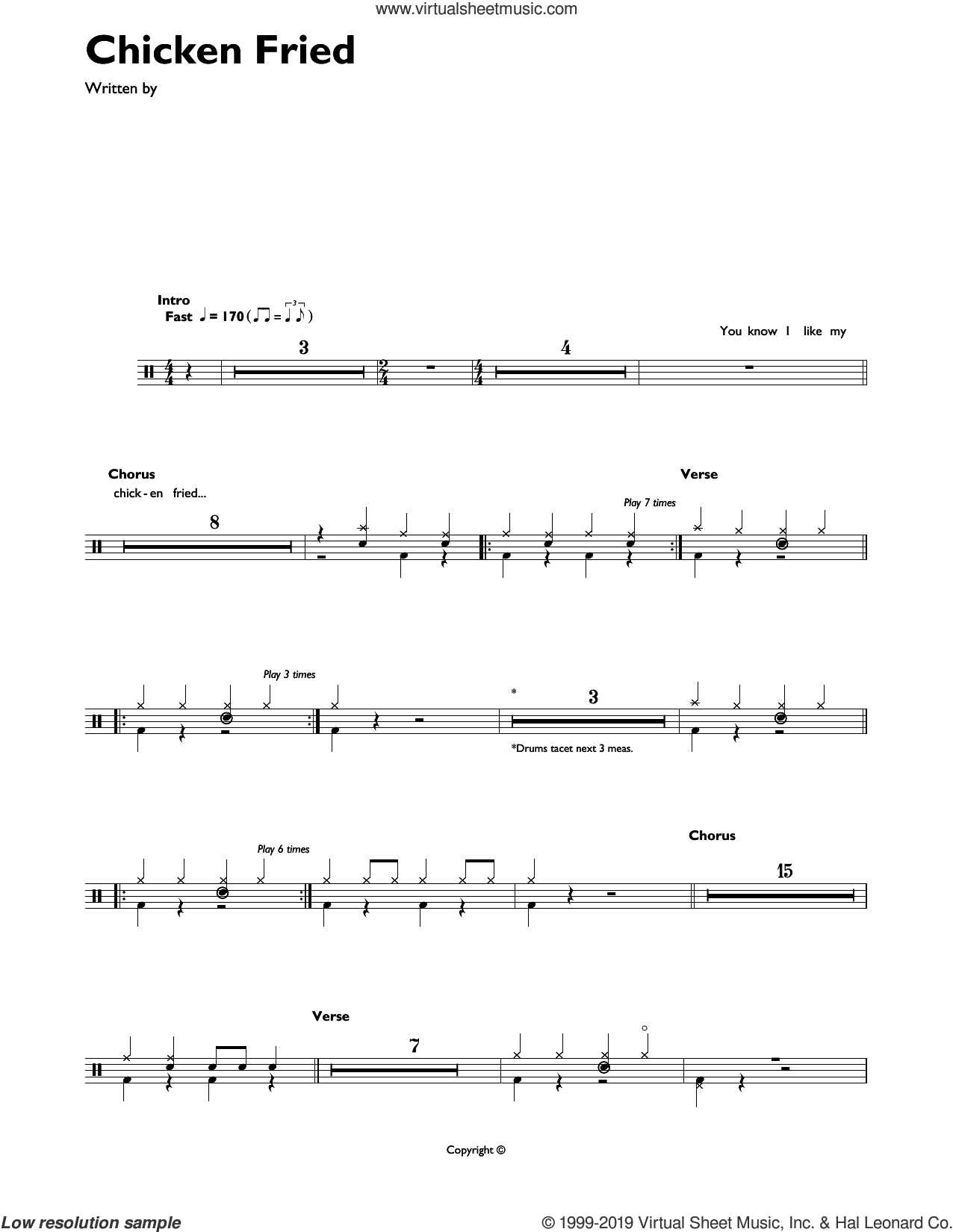 Chicken Fried sheet music for drums (percussions) by Zac Brown Band, Wyatt Durrette and Zac Brown, intermediate skill level