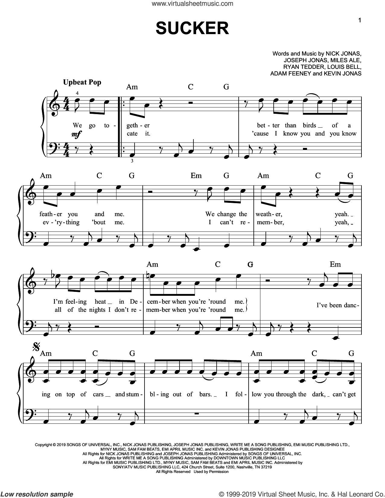 Sucker sheet music for piano solo by Jonas Brothers, Adam Feeney, Carl Rosen, Joseph Jonas, Kevin Jonas, Louis Bell, Nick Jonas and Ryan Tedder, easy skill level