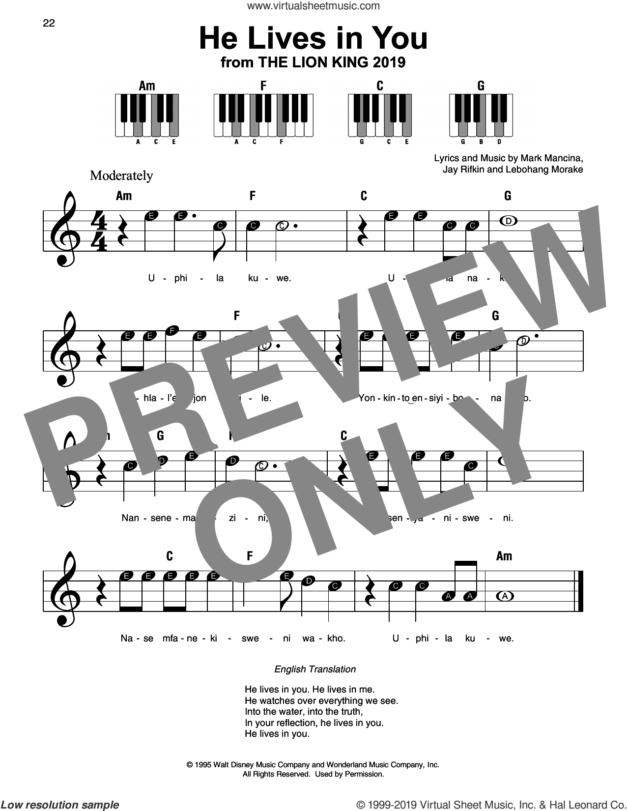 He Lives In You (from The Lion King 2019) sheet music for piano solo by Elton John, Lebo M., Jay Rifkin, Lebohang Morake, Mark Mancina and Tim Rice, beginner skill level