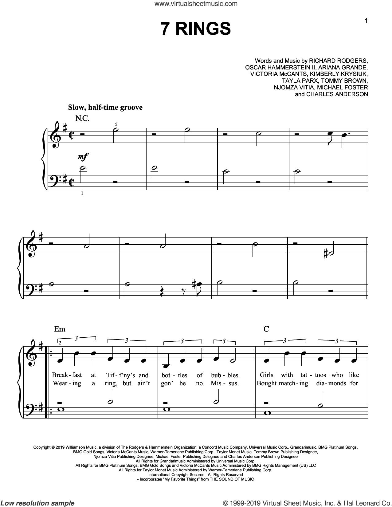 7 Rings sheet music for piano solo by Ariana Grande, Charles Anderson, Kimberly Krysiuk, Michael Foster, Njomza Vitia, Oscar II Hammerstein, Richard Rodgers, Tayla Parx, Tommy Brown and Victoria McCants, easy skill level