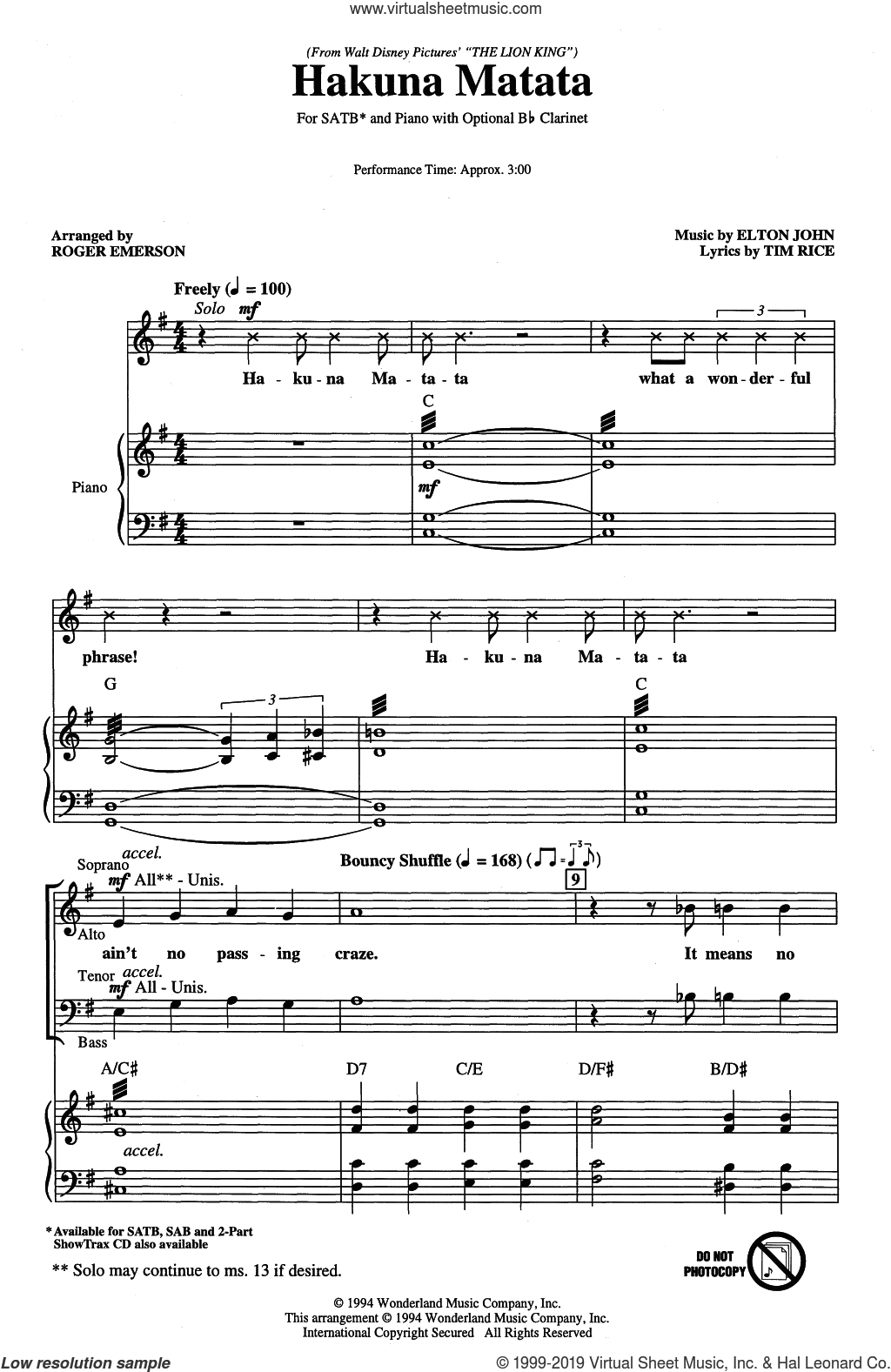 Hakuna Matata (from Disney's The Lion King) (arr. Roger Emerson) sheet music for choir (SATB: soprano, alto, tenor, bass) by Elton John, Roger Emerson and Tim Rice, intermediate skill level