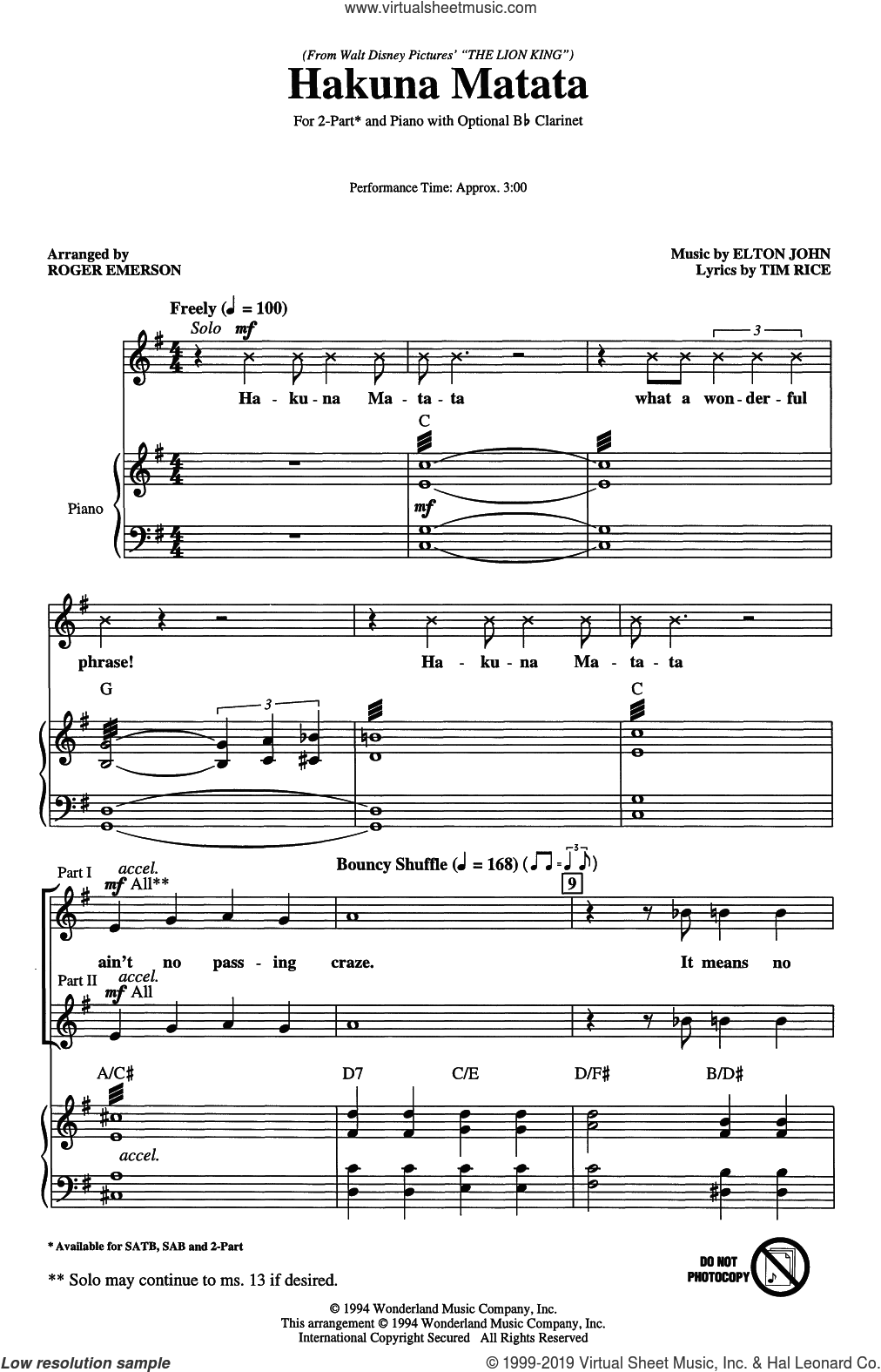 Hakuna Matata (from Disney's The Lion King) (arr. Roger Emerson) sheet music for choir (2-Part) by Elton John, Roger Emerson and Tim Rice, intermediate duet
