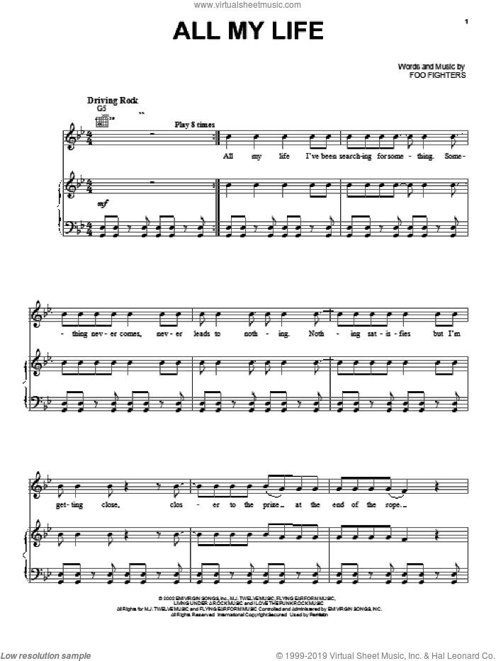 All My Life sheet music for voice, piano or guitar by Foo Fighters. Score Image Preview.