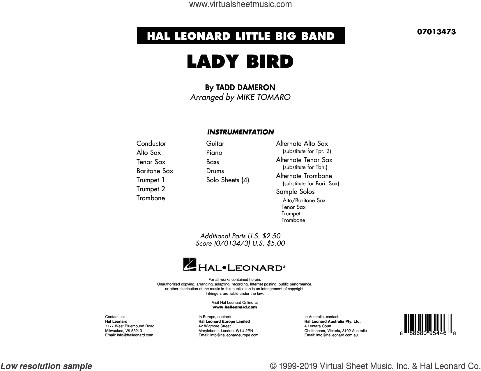 Lady Bird (arr. Mike Tomaro) (COMPLETE) sheet music for jazz band by Miles Davis, Mike Tomaro and Tadd Dameron, intermediate skill level