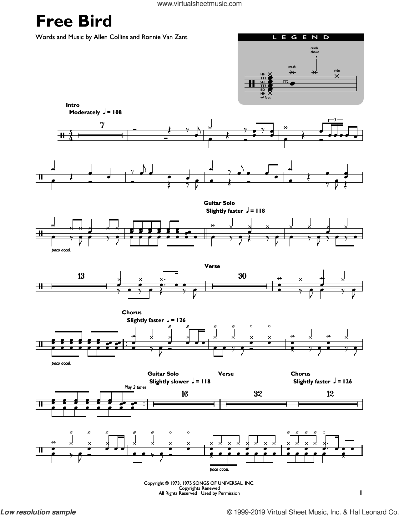 Free Bird sheet music for drums (percussions) by Lynyrd Skynyrd, Allen Collins and Ronnie Van Zant, intermediate skill level