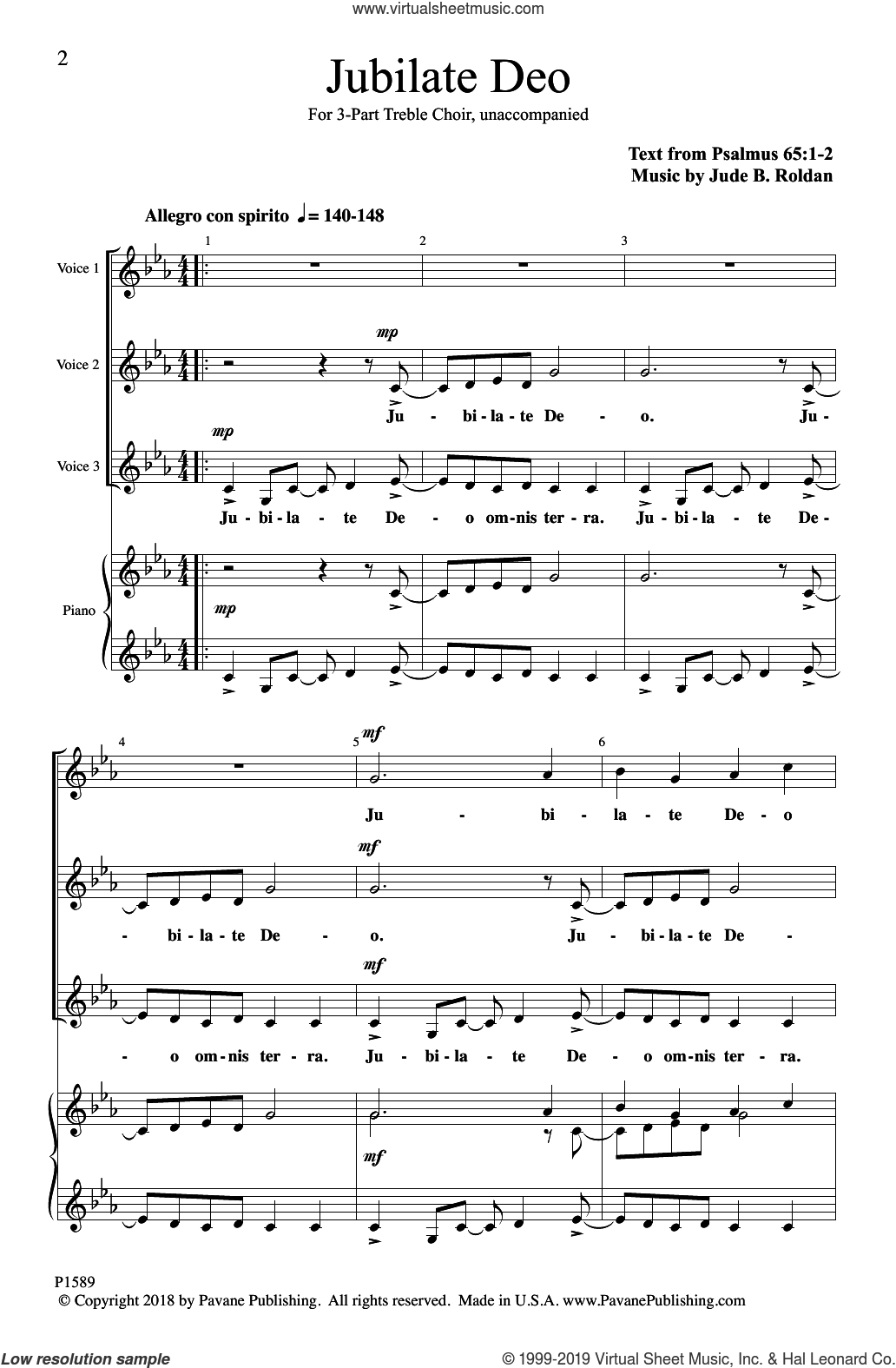 Jubilate Deo sheet music for choir (3-Part Mixed) by Jude B. Roldan, intermediate skill level