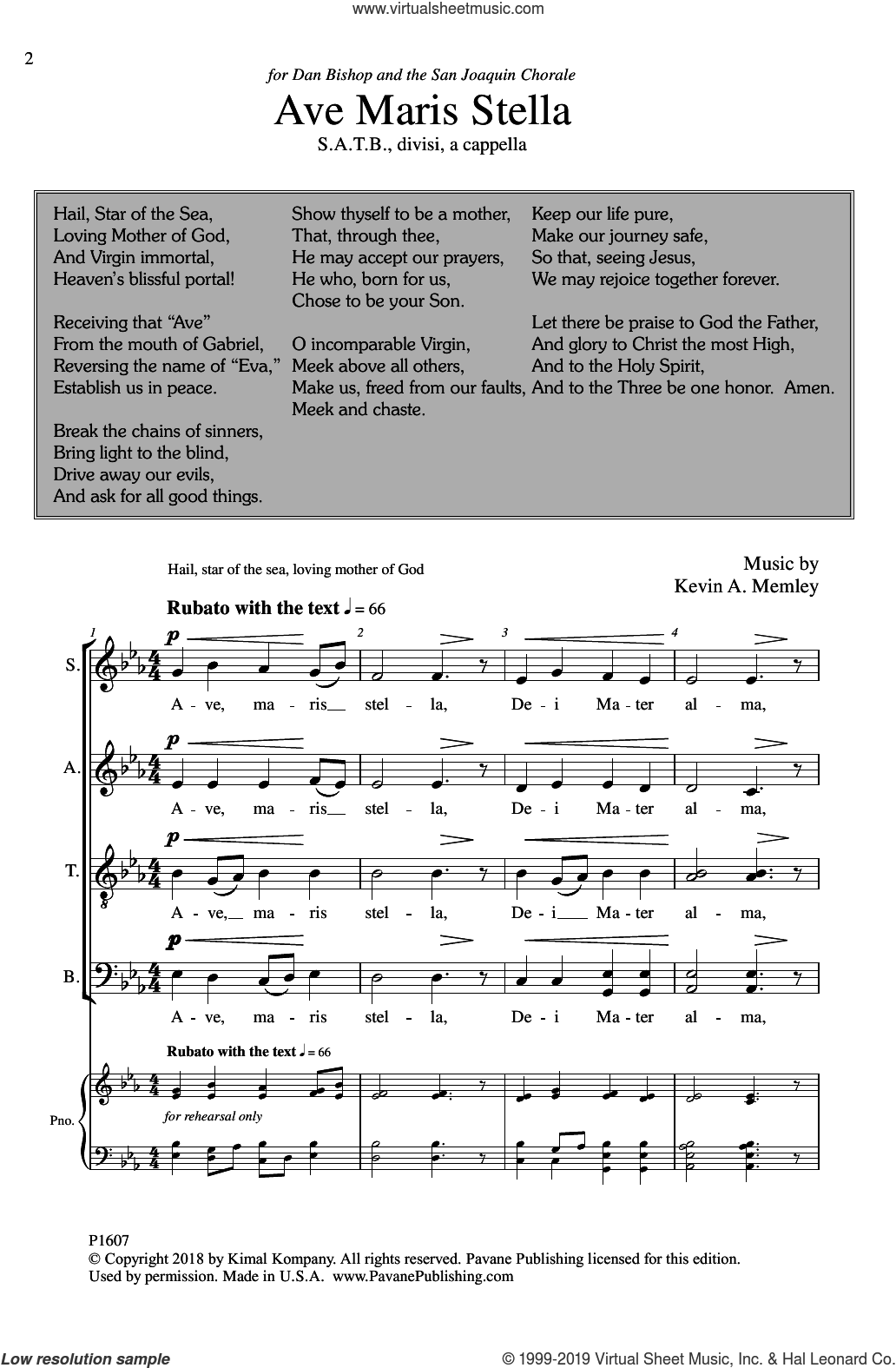 Ave Maris Stella sheet music for choir (SATB: soprano, alto, tenor, bass) by Kevin A. Memley, intermediate skill level