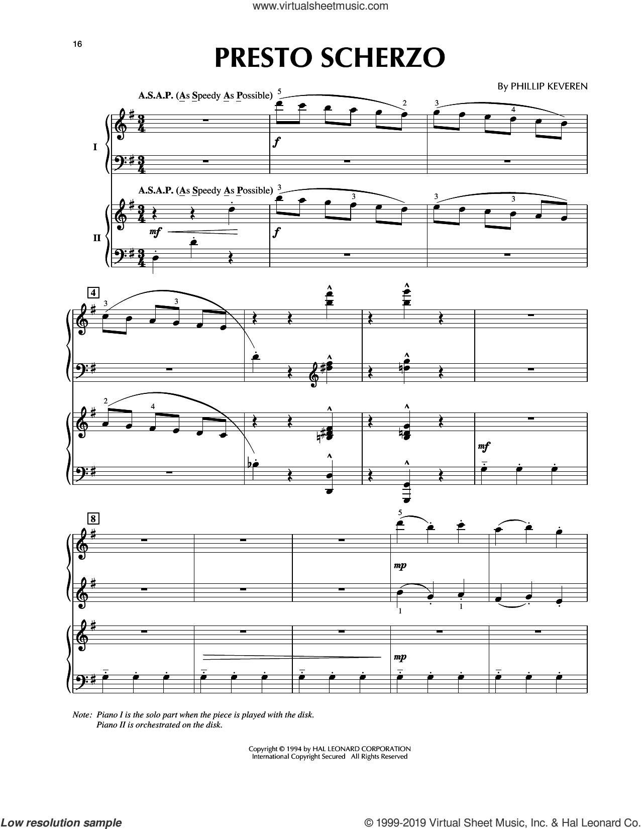 Presto Scherzo (from Presto Scherzo) (for 2 pianos) sheet music for piano four hands by Phillip Keveren, classical score, intermediate skill level
