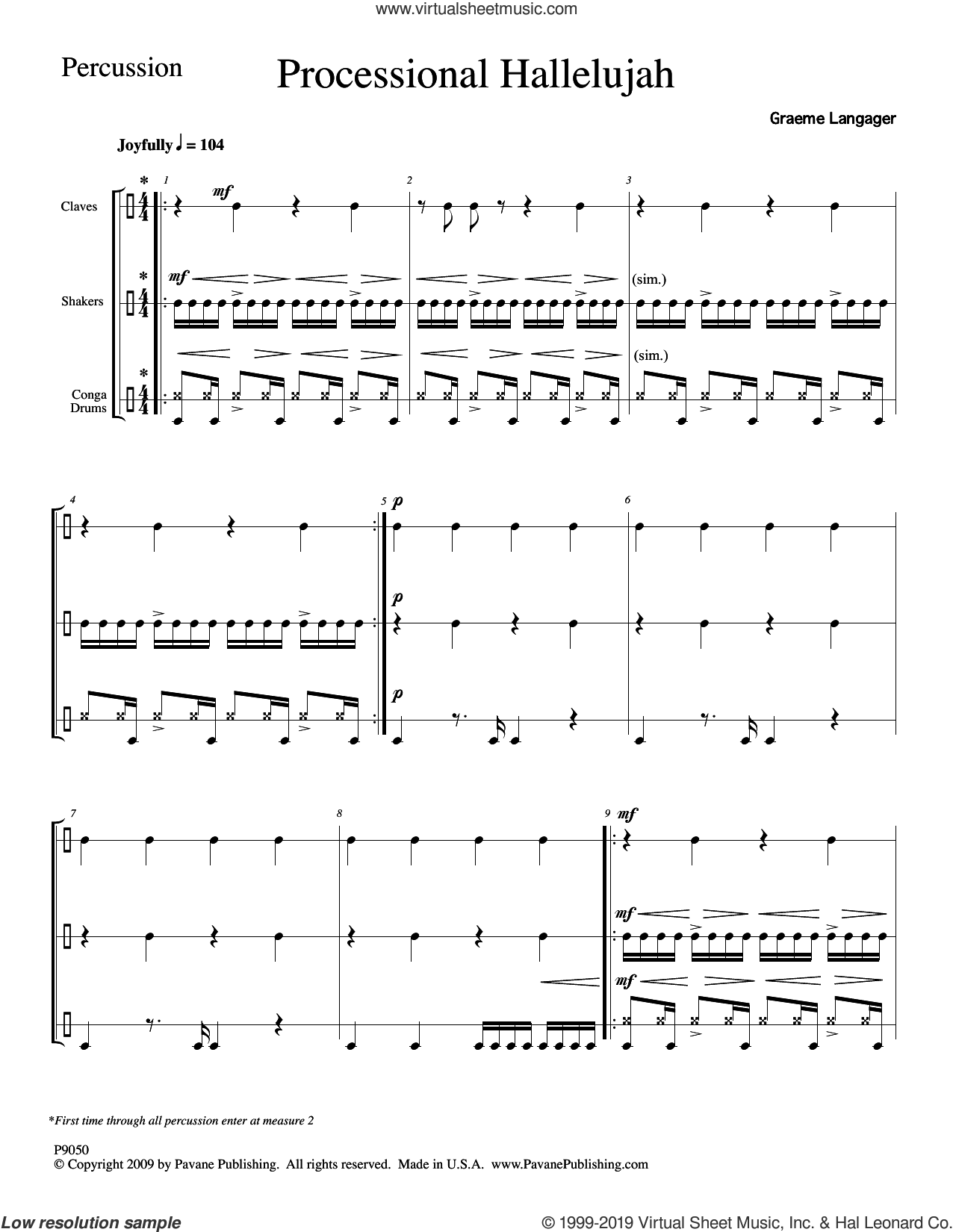 Processional Hallelujah Percussion sheet music for orchestra/band (Percussion) by Graeme Langager, intermediate skill level