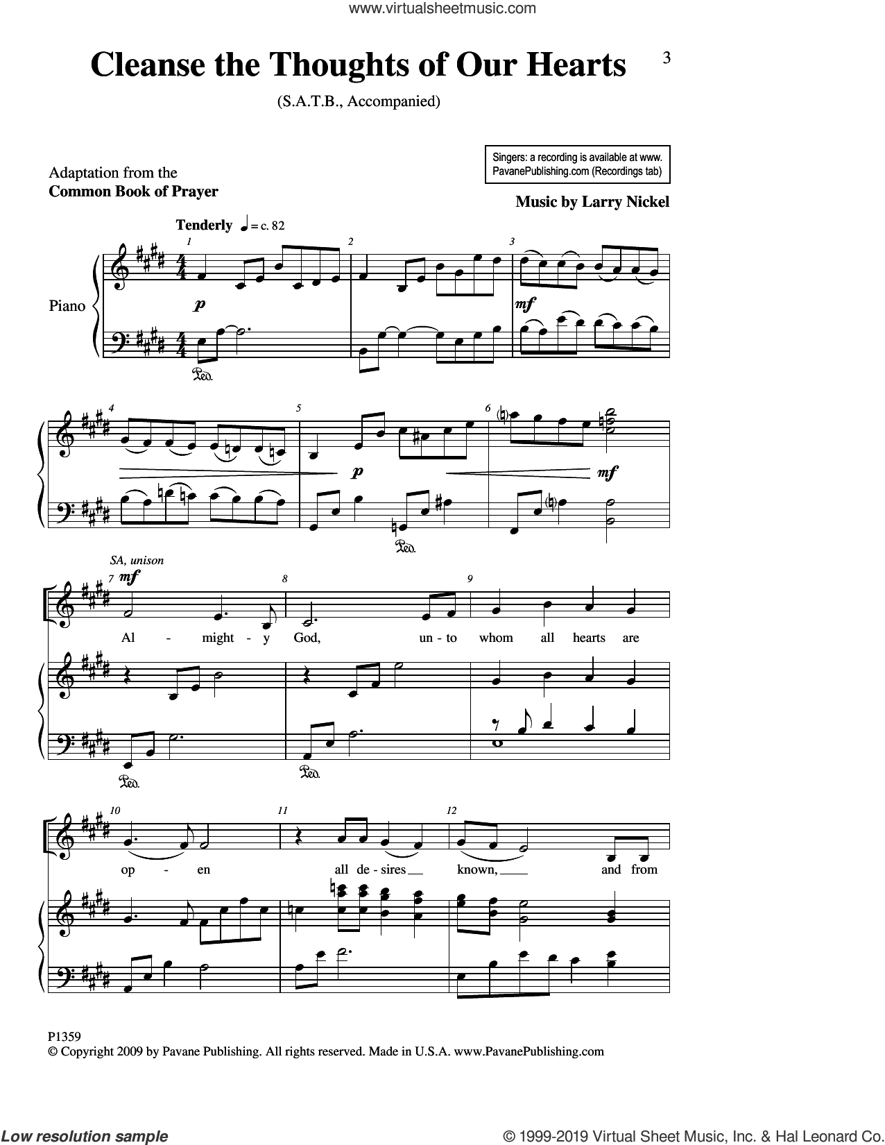 Cleanse The Thoughts Of Our Hearts sheet music for choir (SATB: soprano, alto, tenor, bass) by Larry Nickel, intermediate skill level