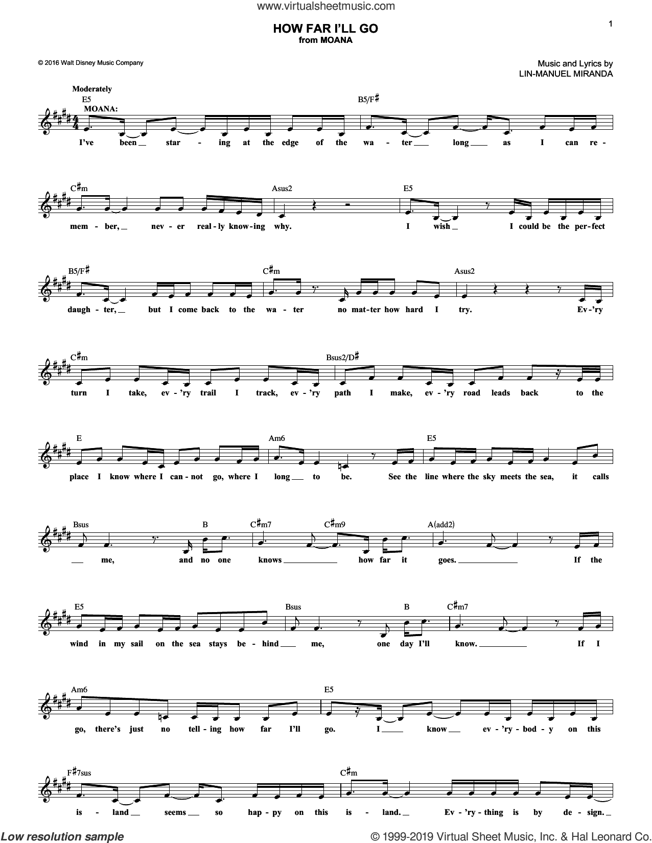 How Far I'll Go (from Moana) sheet music for voice and other instruments (fake book) by Lin-Manuel Miranda and Alessia Cara, intermediate skill level