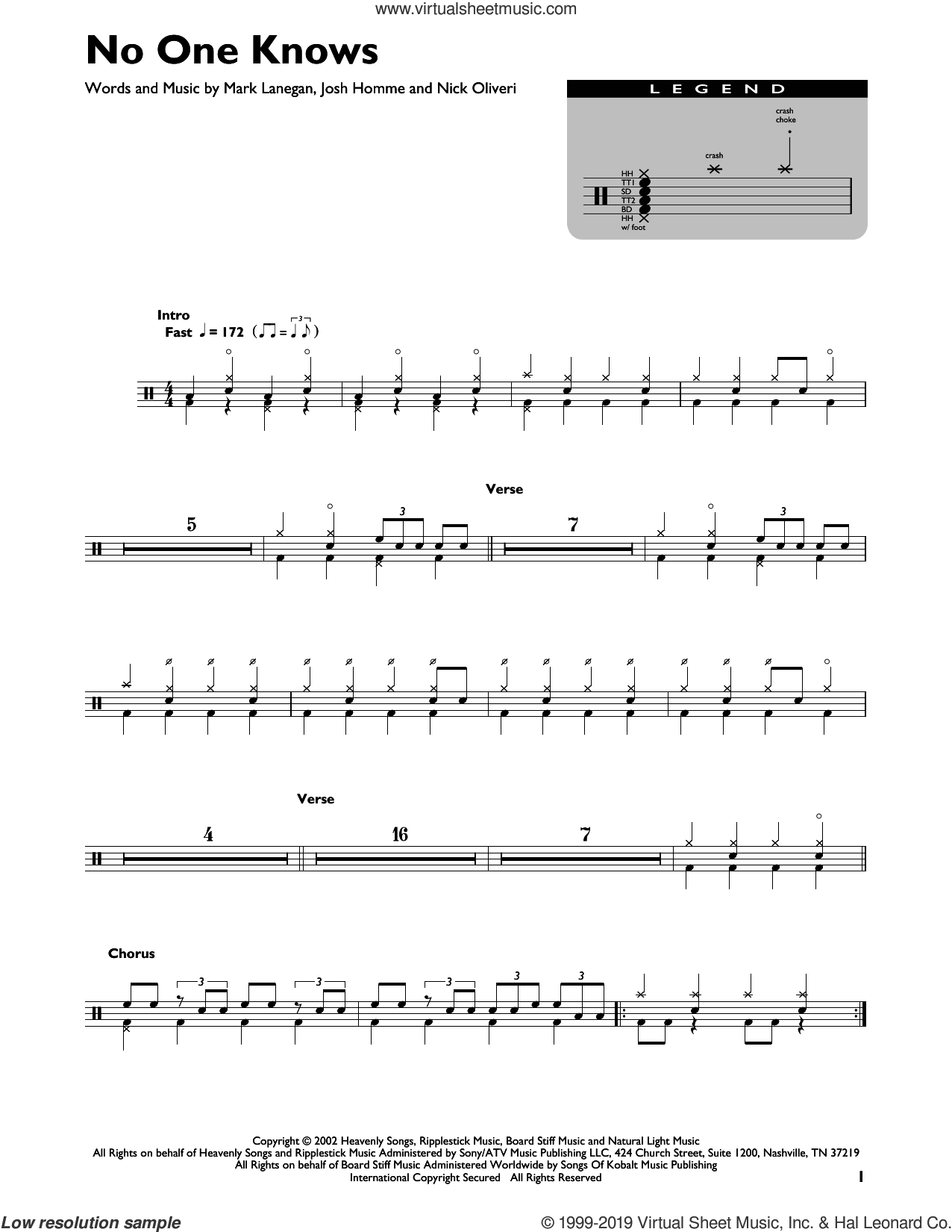 No One Knows sheet music for drums by Queens Of The Stone Age, Josh Homme, Mark Lanegan and Nick Oliveri, intermediate skill level