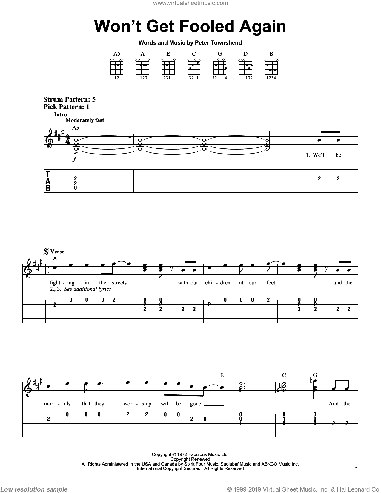 Won't Get Fooled Again sheet music for guitar solo (chords) by The Who and Pete Townshend, easy guitar (chords)