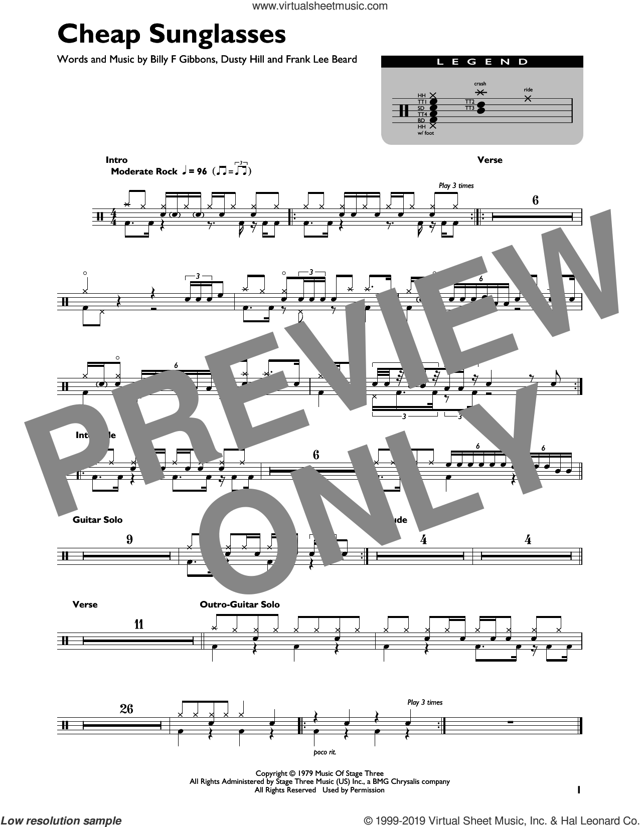 Cheap Sunglasses sheet music for drums (percussions) by ZZ Top, Billy Gibbons, Dusty Hill and Frank Beard, intermediate skill level