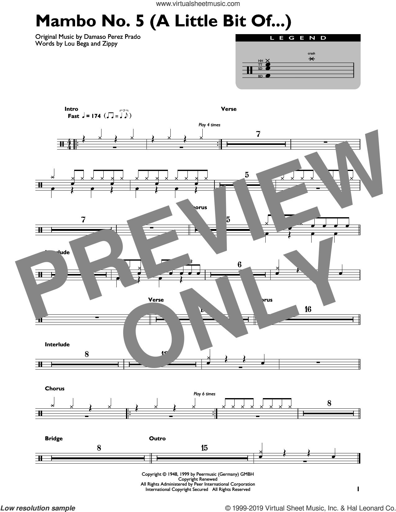 Mambo No. 5 (A Little Bit Of...) sheet music for drums (percussions) by Lou Bega, Damaso Perez Prado and Zippy, intermediate skill level