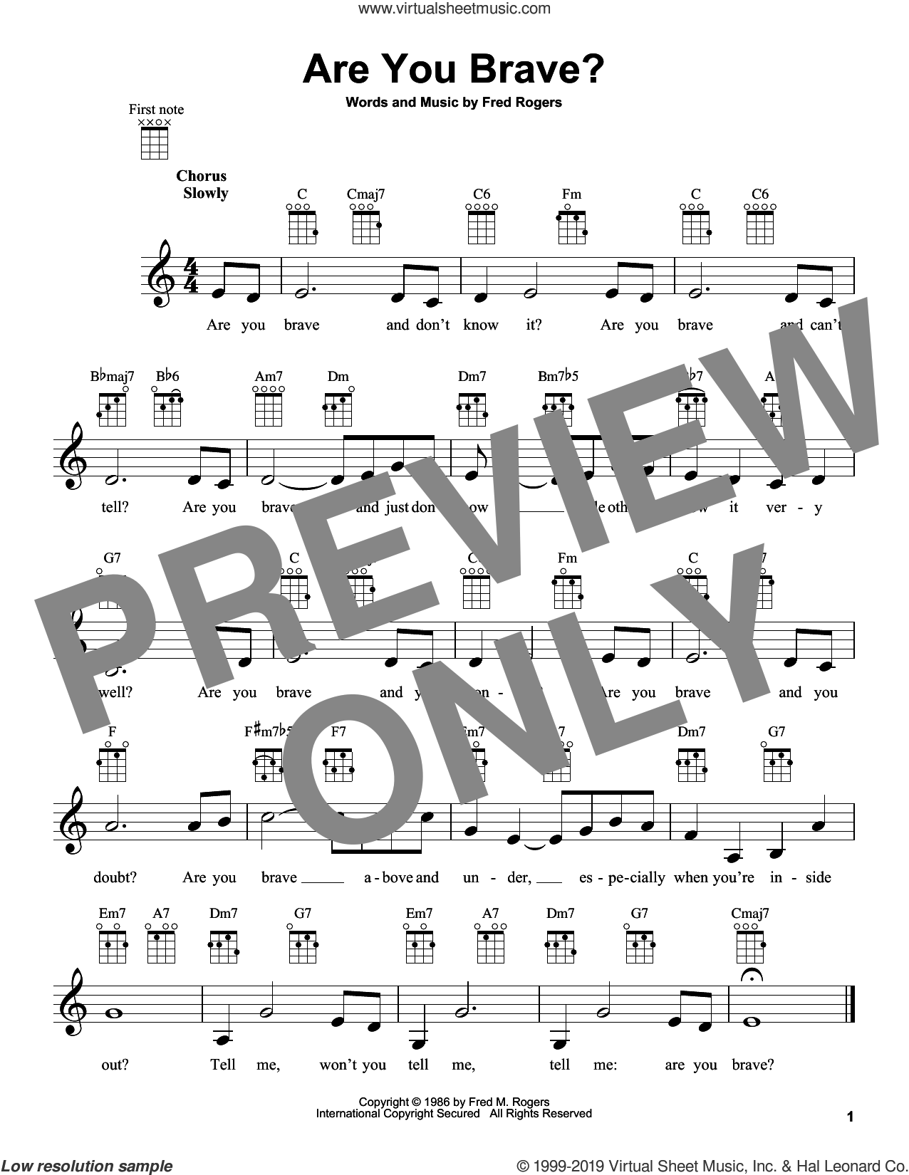 Are You Brave? (from Mister Rogers' Neighborhood) sheet music for ukulele by Fred Rogers and Mister Rogers, intermediate skill level