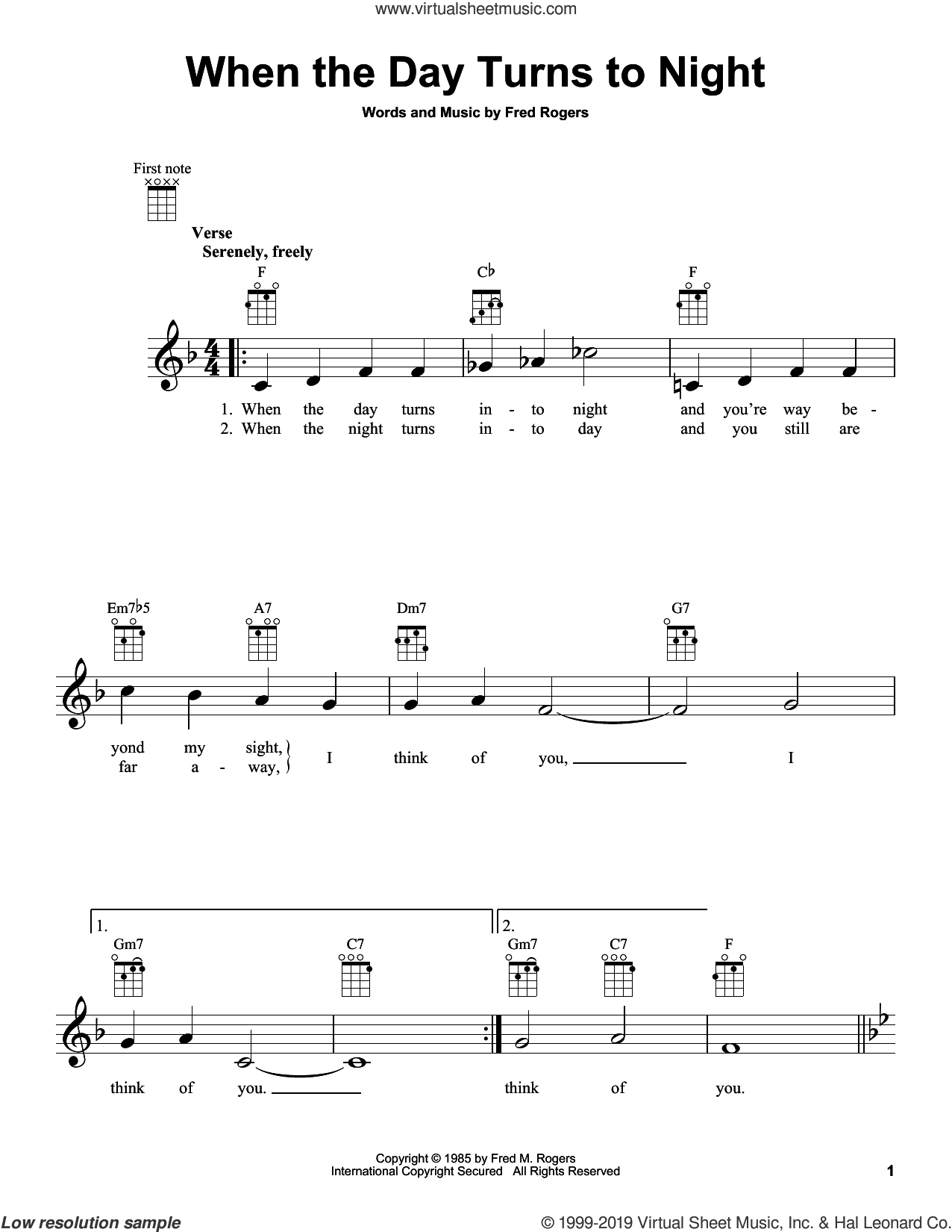 When The Day Turns To Night (from Mister Rogers' Neighborhood) sheet music for ukulele by Fred Rogers and Mister Rogers, intermediate skill level