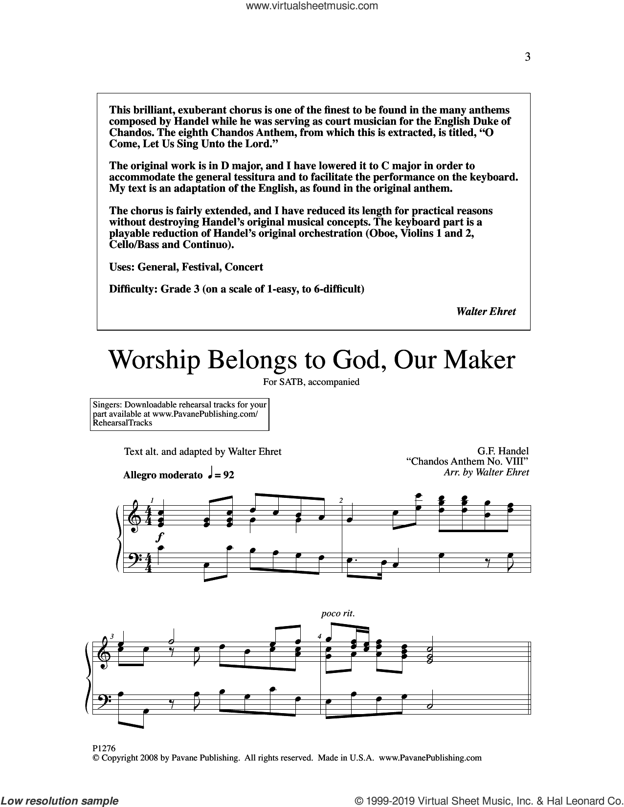 Worship Belongs to God, Our Maker (arr. Walter Ehret) sheet music for choir (SATB: soprano, alto, tenor, bass) by George Frideric Handel and Walter Ehret, intermediate skill level